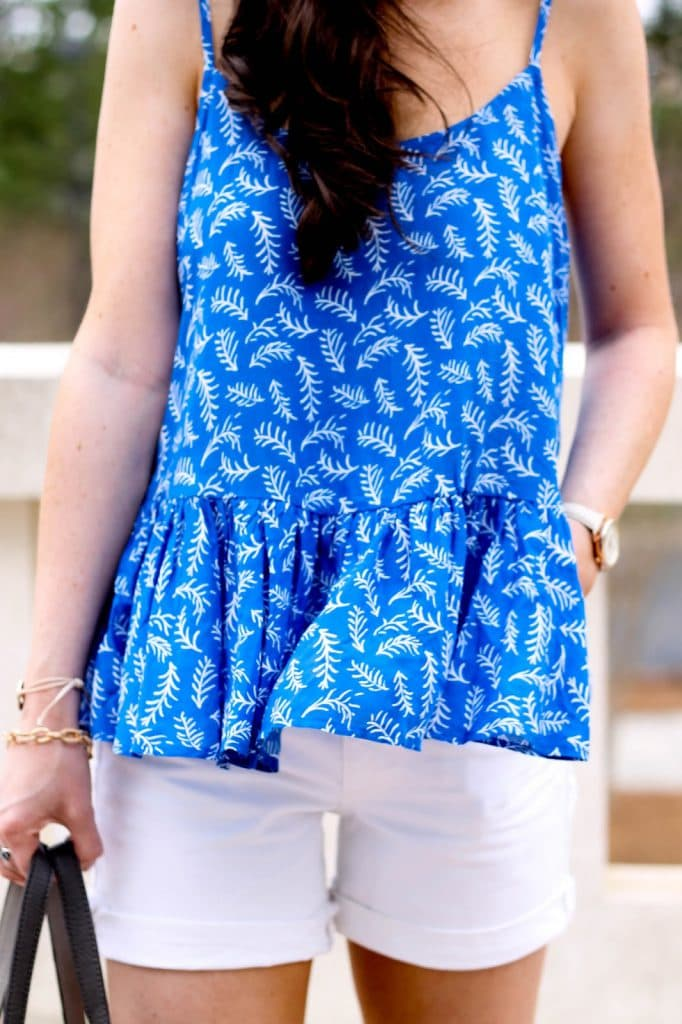 Old Navy Peplum Cami, Fashion Blogger, Raleigh North Carolina blog, pretty in the pines, white denim shorts, summer and spring outfit idea, cute outfit for spring, nordstrom sandals of the season, shelby vanhoy, old navy peplum printed tank