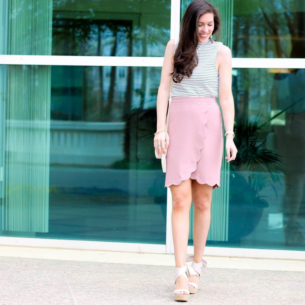 Scallop Skirt, Scalloped Skirt, Pink Scallop Hem Wrap Skirt, ASOS scallop skirt, striped high neck top by new look, pretty in the pines, fashion blogger north carolina, lifestyle blog in the south, shelby vanhoy, UGG wedges, best shoes for spring and summer, UGG Australia Jules Platform Wedge Sandal, Forever 21 crossbody bag, cute spring outfit, work appropriate summer outfit