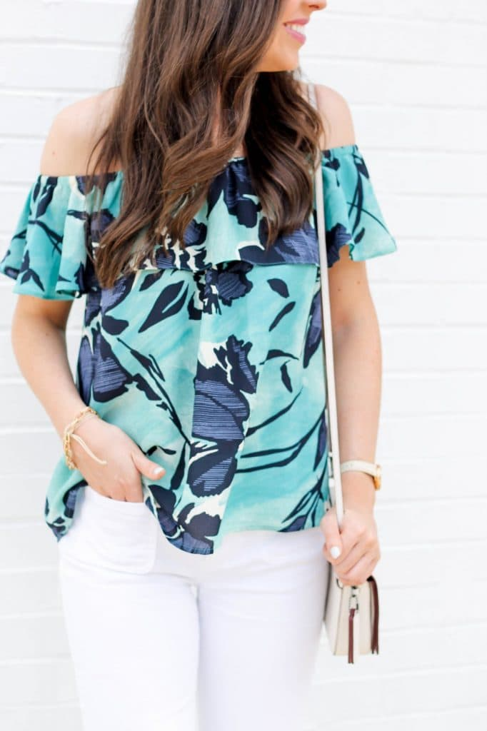 Anthropologie Islander Top, Floral off shoulder top, off-the-shoulder ruffle top with floral watercolor print, fashion blogger, pretty in the pines, white wide leg pants, wide-leg trousers denim, cute summer outfit idea, sam edelman pointy toe shoes, nc blogger, outfit ideas for summer