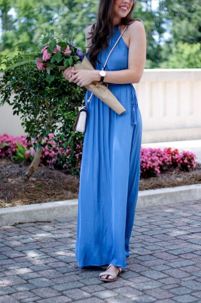 How to Wrap a Flower Bouquet as a Gift, Blue Maxi Dress with Tassels, LOFT maxi dress for summer, summer outfit idea, fresh flower DIY bouquet, pretty in the pines, make your own bouquet, fashion blogger north carolina, shelby vanhoy