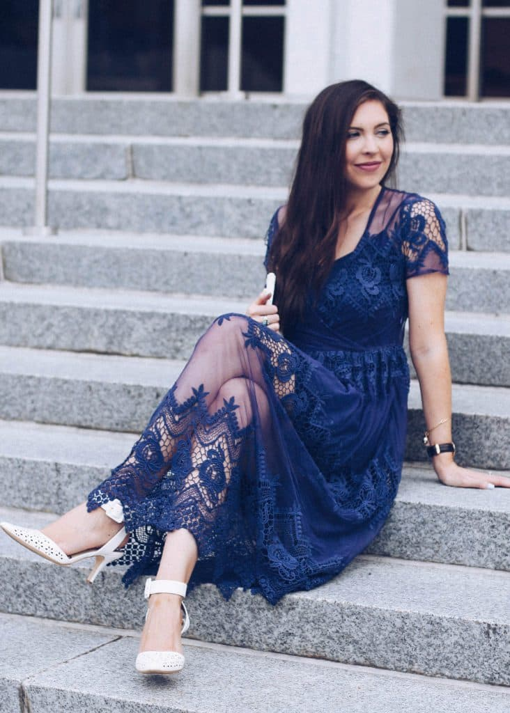 Navy Lace Midi From Summer to Fall