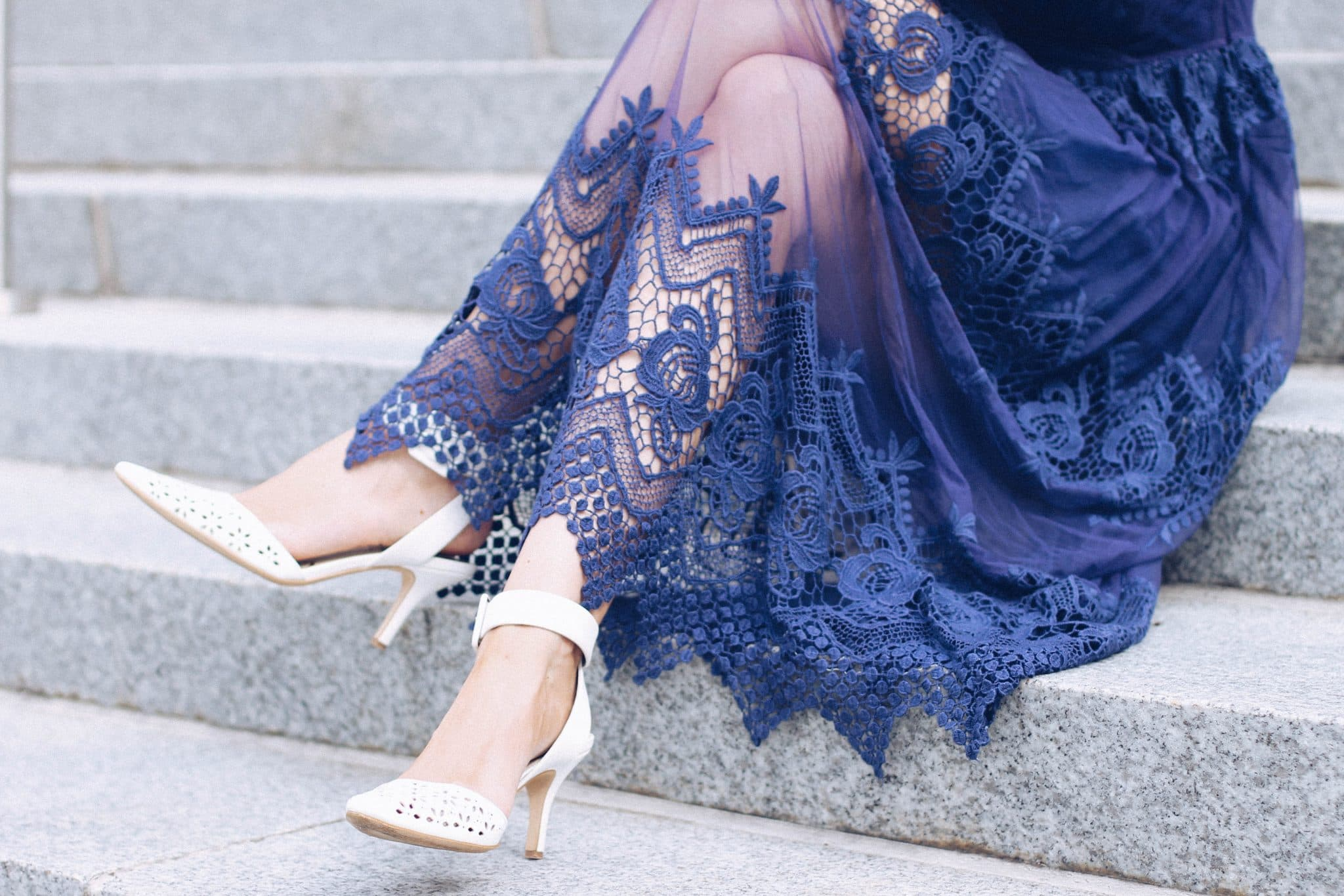 Navy Blue Lace Mesh Midi Dress by ASOS, pretty in the pines, fall wedding outfit idea