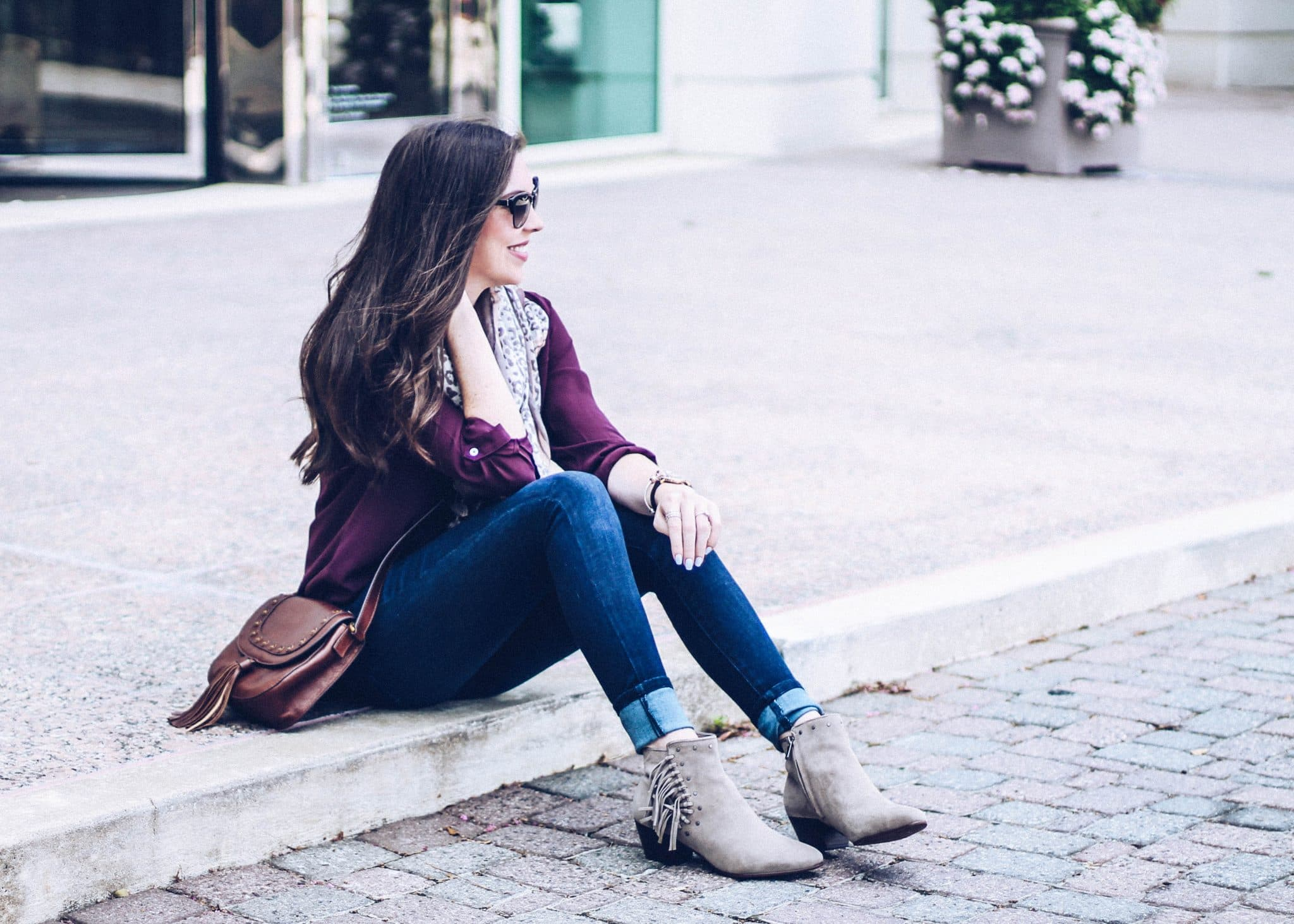 fall fashion ideas, pretty in the pines blog, fringe suede booties, pandora jewelry, fossil crossbody bag, fall outfit
