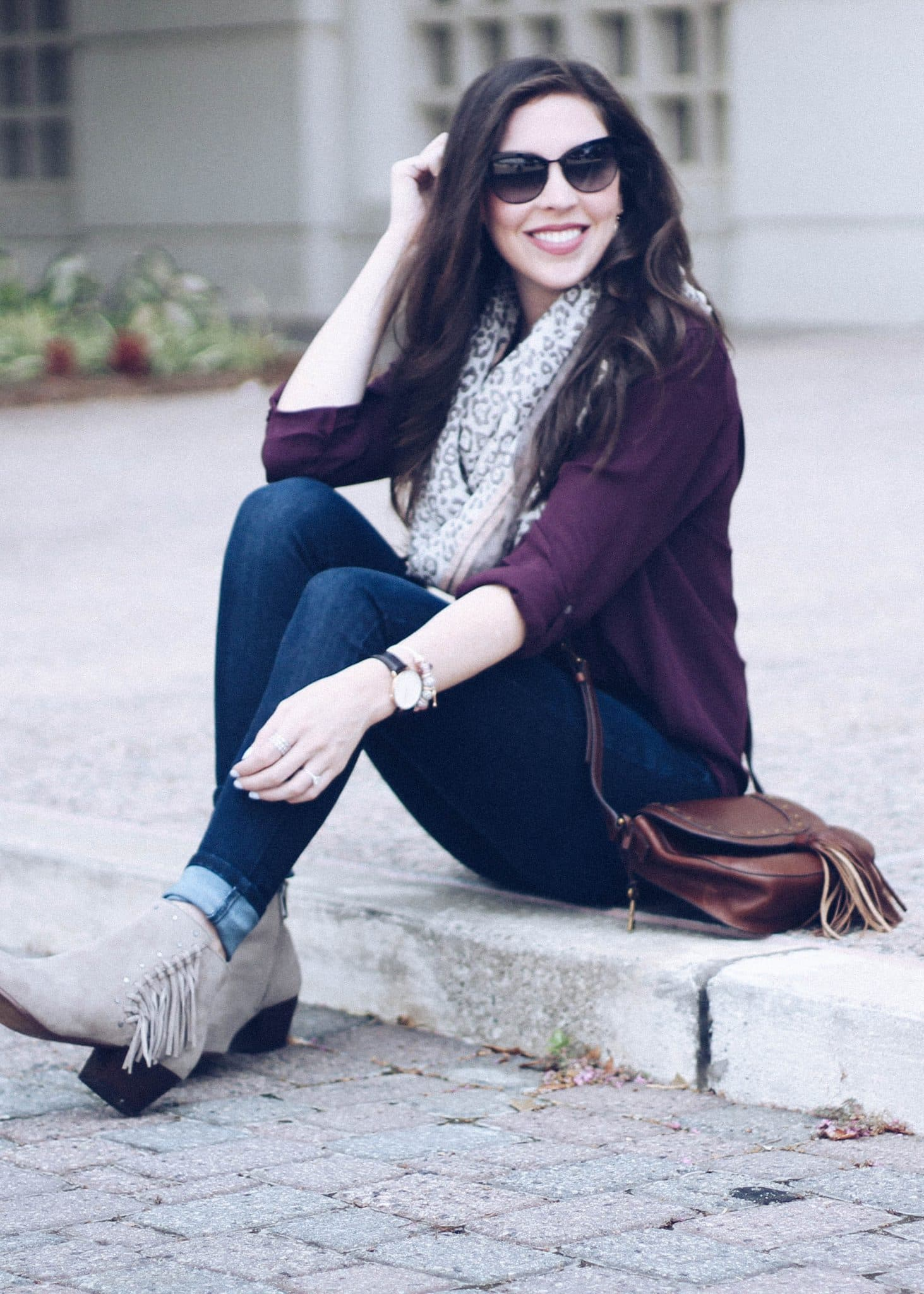 fall outfit idea, fringe suede booties, loft new arrivals, pretty in the pines