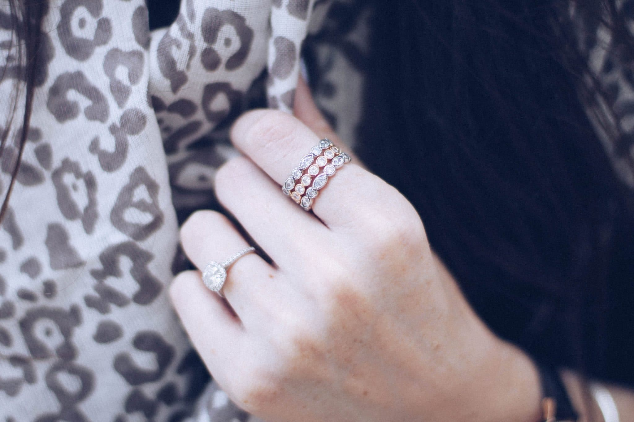 Pandora stacked rings, rose gold ring stacked with silver, engagement ring round diamond, cushion setting, baileys fine jewelry, pretty in the pines