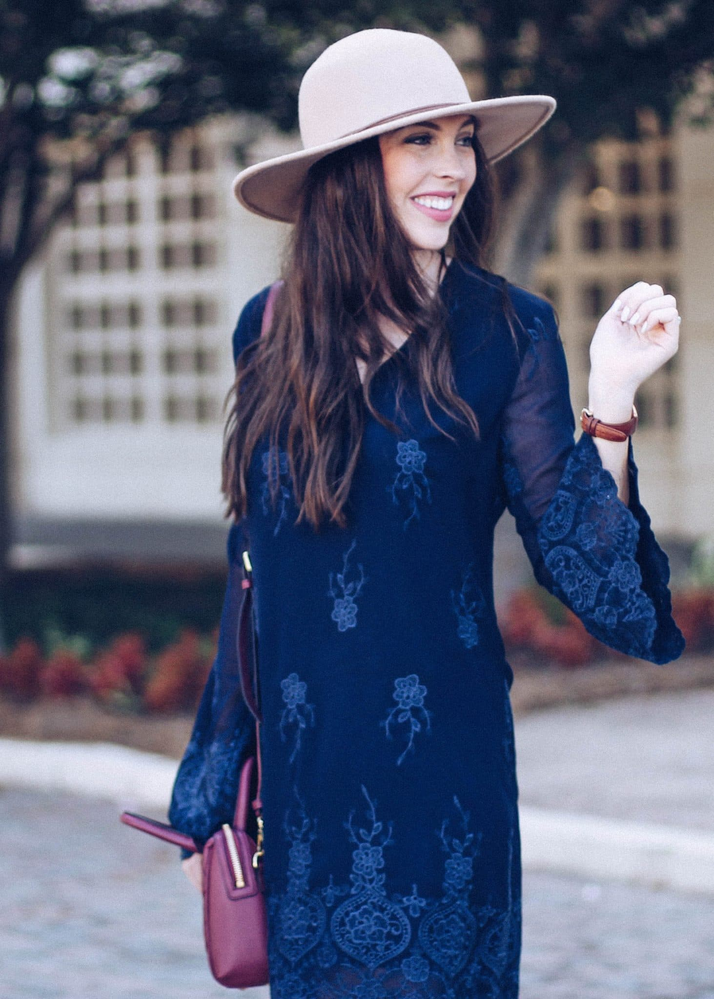 vera bradley quilted crossbody in claret, pretty in the pines blog, outfit idea for fall, embroidered lace bell sleeve dress, tan floppy hat