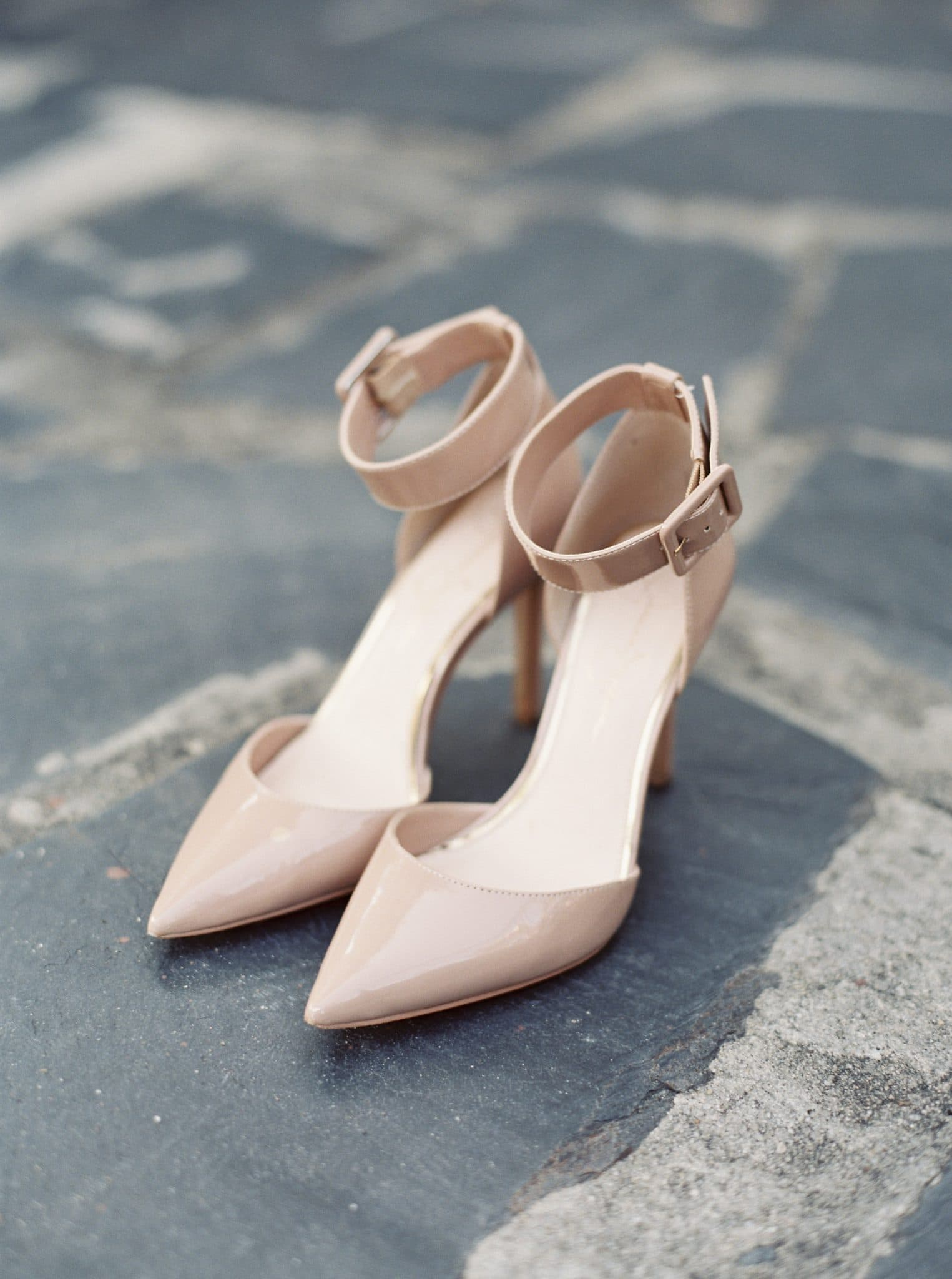 Nude Ankle Strap Pumps Pointy Toe