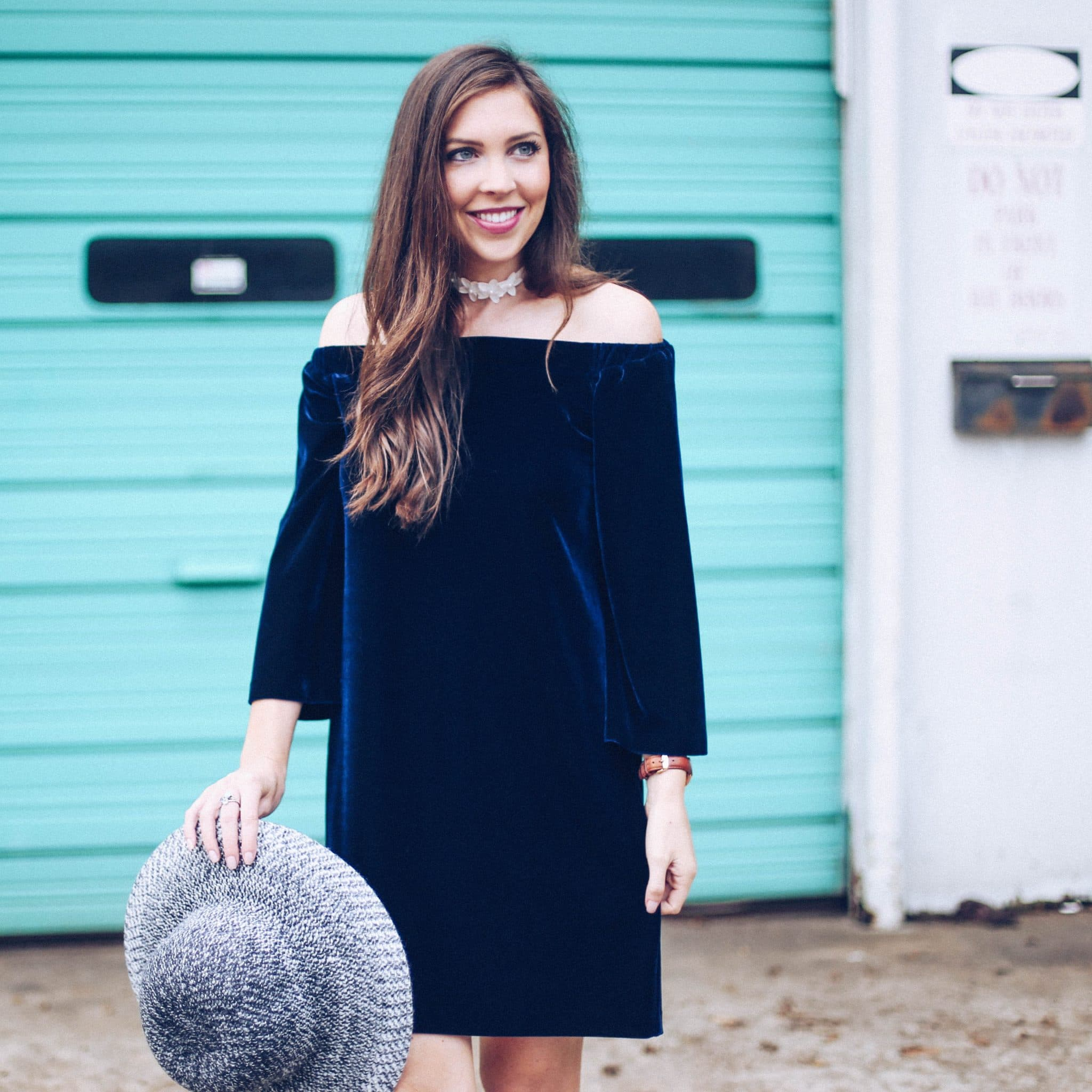 donna morgan velvet sheath dress off shoulder, anthropologie hat, suede fringe booties, pretty in the pines, fall trends, fall outfit ideas