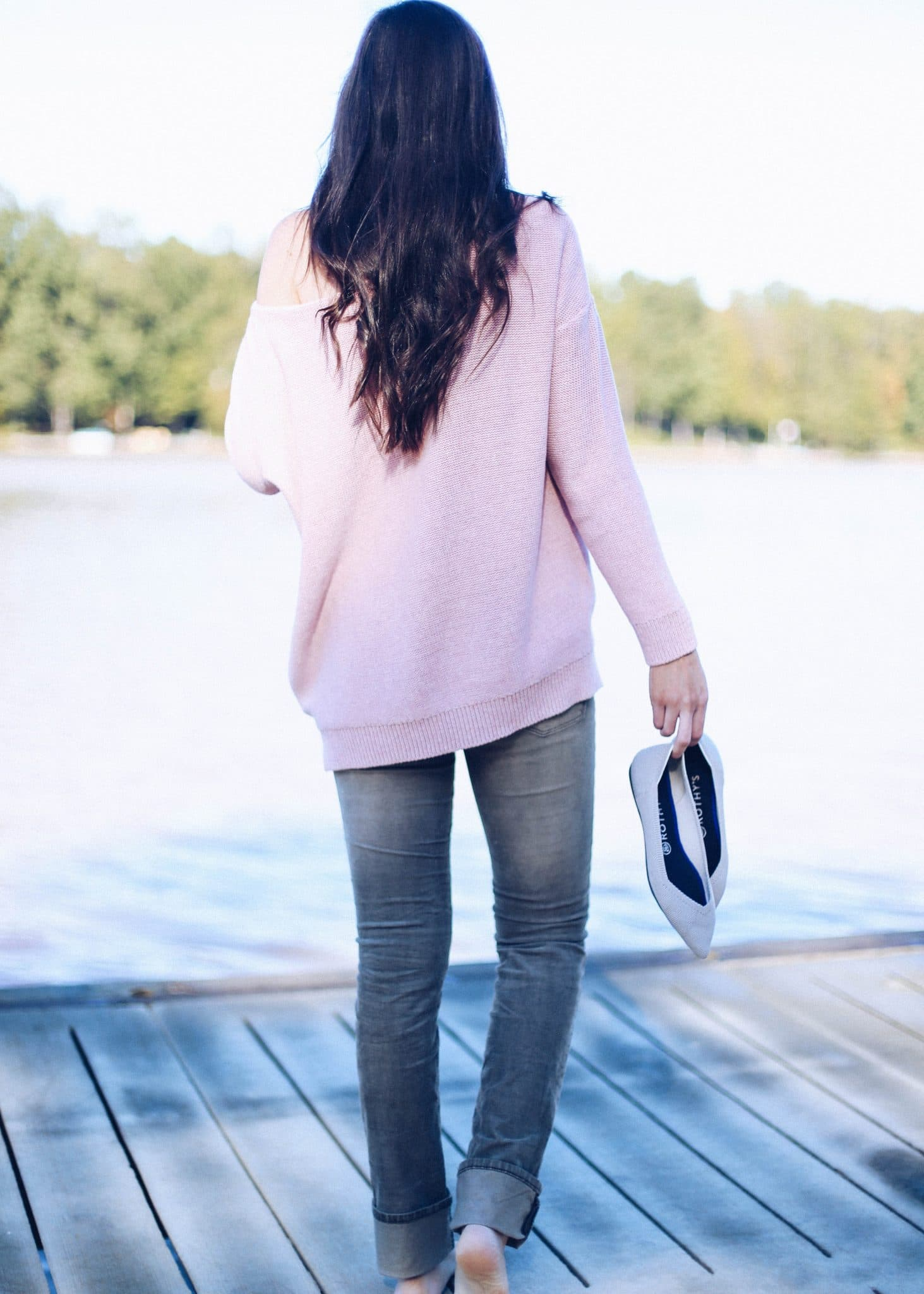 Off Shoulder Sweater, Corduroy Pants for Women, Anthropologie, Fall Style, Pretty in the Pines, NC Blogger, Rothy's Shoes, Best Flats for Women, Most Comfortable Flats
