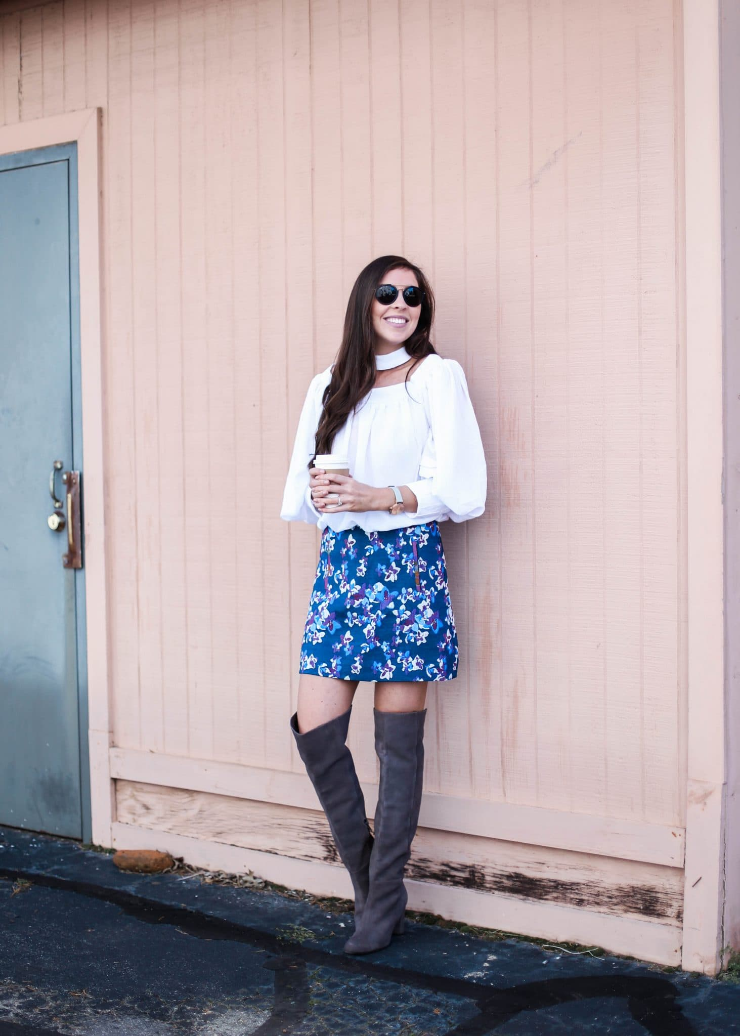 anthropologie mini floral skirt, grey over the knee suede boots on sale, best otk boots, nc fashion blogger, pretty in the pines blog, fall outfit ideas