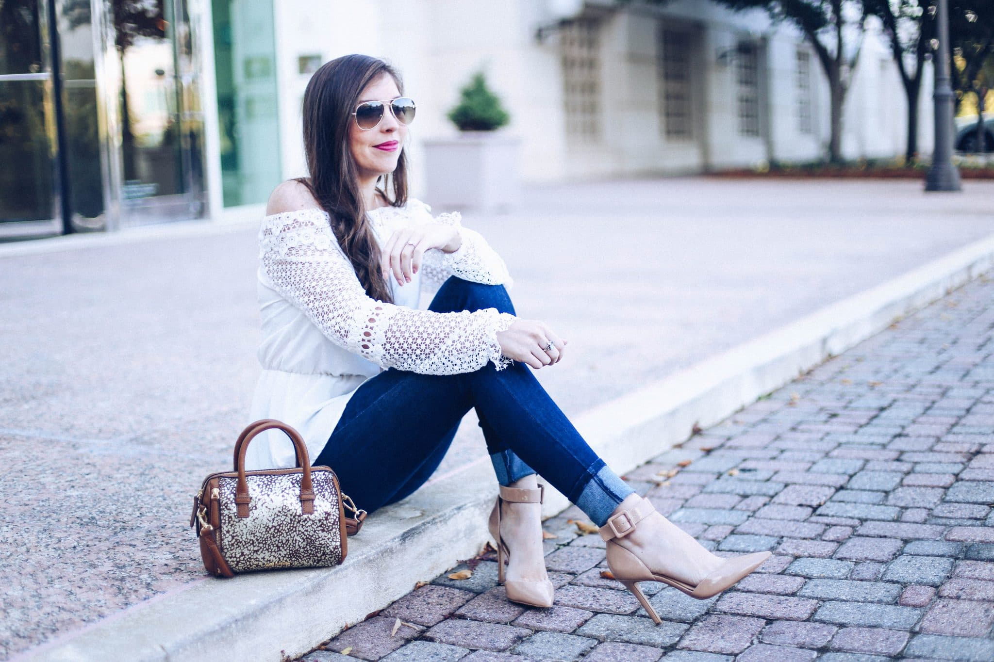 025e97d48029 Chicwish off shoulder white crochet lace top, mott and bow denim skinny  dark wash jeans