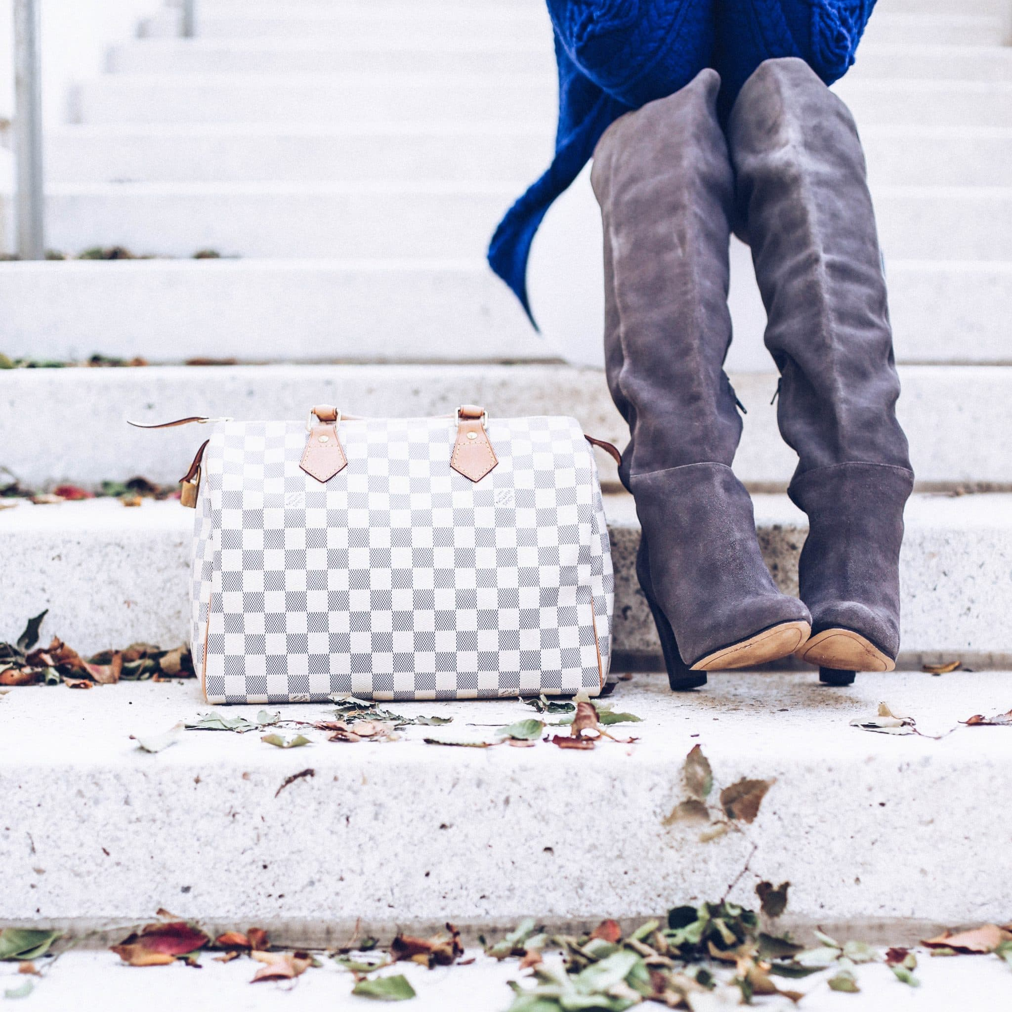 trend lee, louis vuitton used, louis vuitton for less, speedy bag, neverfull bag, over the knee suede boots on sale, grey suede otk boots, turtleneck blue sweater women, pretty in the pines blog, fall outfit idea, white denim in fall