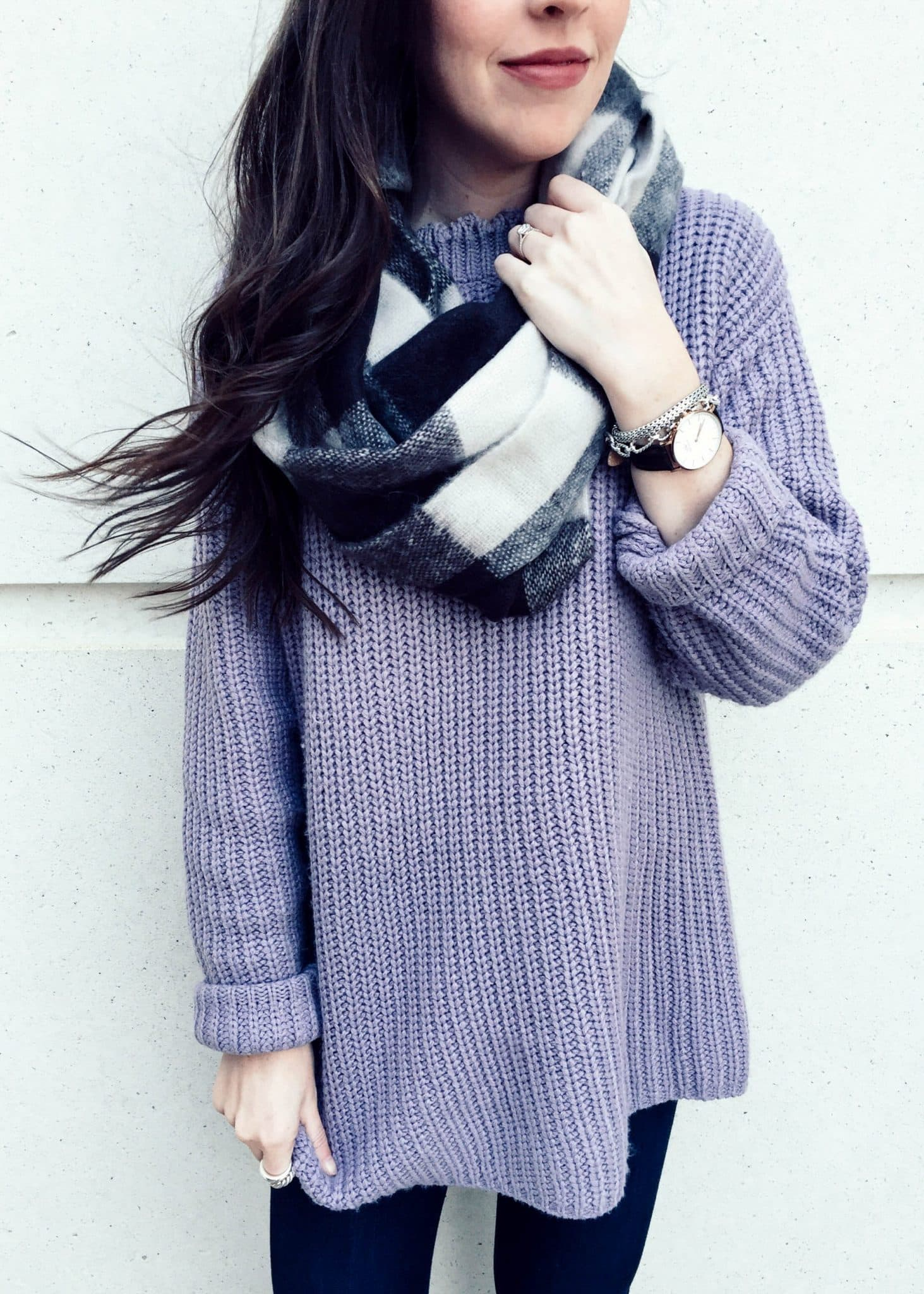 purple sweater, dark skinny jeans, plaid infinity scarf, winter outfit idea, pretty in the pines blog, nc blogger