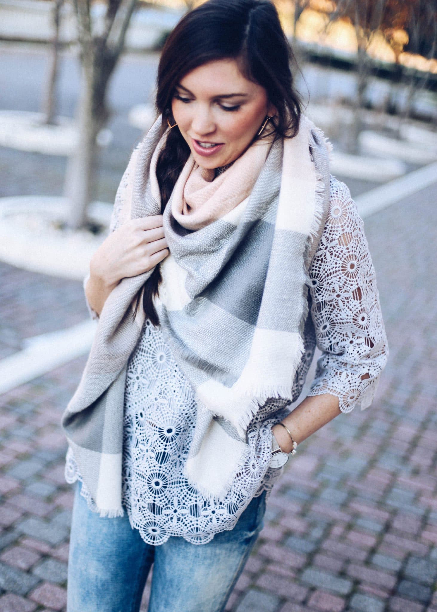 blanket scarf, swirling honey, pretty in the pines, north carolina blog, nc blogger, 12 days of giveaways, 12 days of christmas, blogmas, grey suede loafers, distressed denim, chic wish lace top