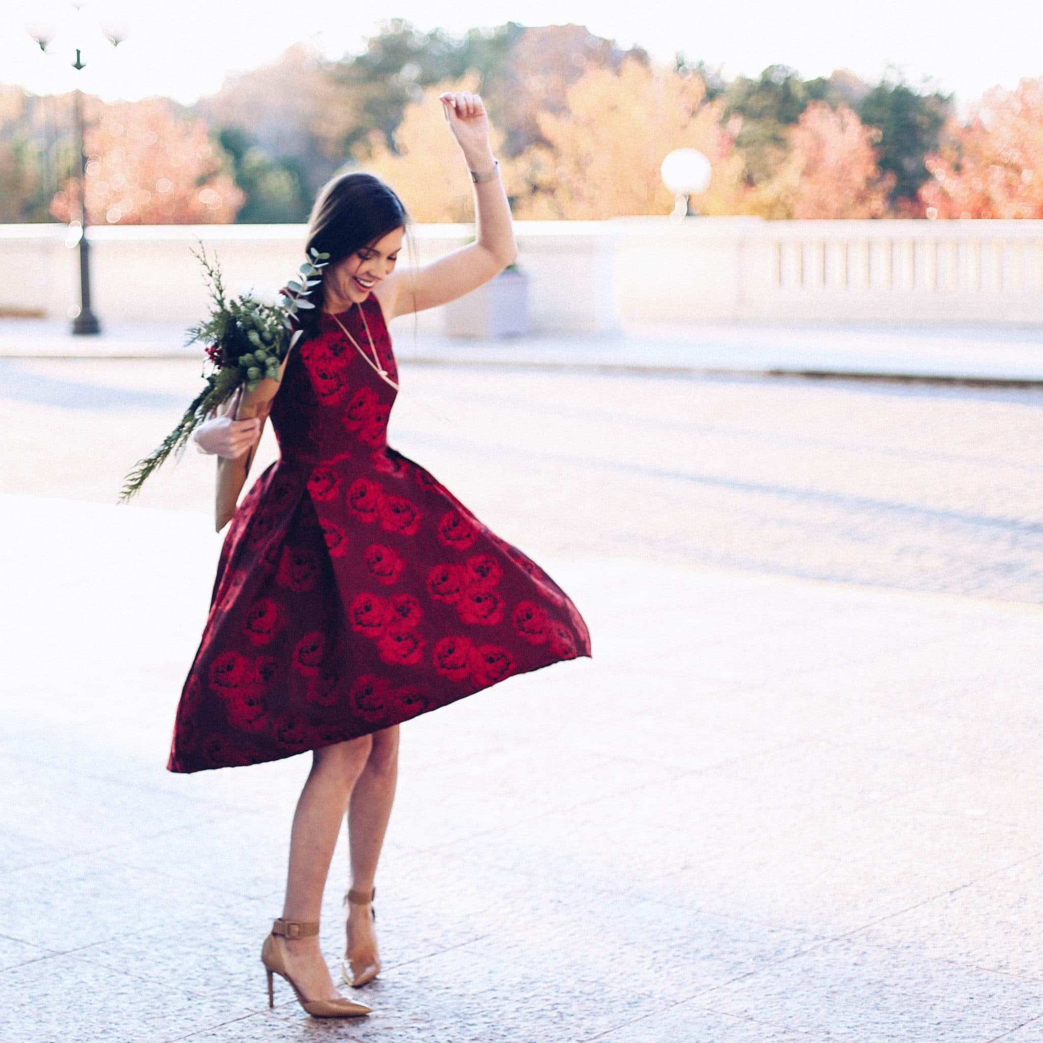 red holiday dress, christmas dress, pretty in the pines blog, nc north carolina blogger, chic wish, kendra scott winter collection giveaway, 12 days of christmas, twelve days of giveaways