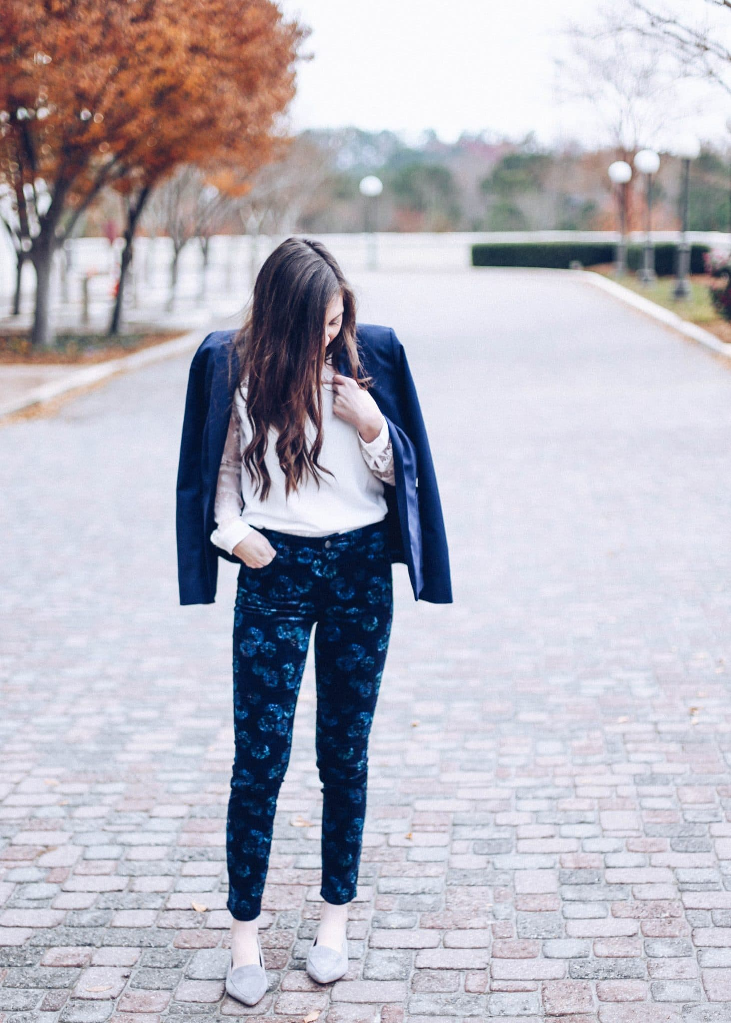 cooper & ella, navy blazer, pretty in the pines, 12 days of christmas giveaways, fashion blog, nc blogger
