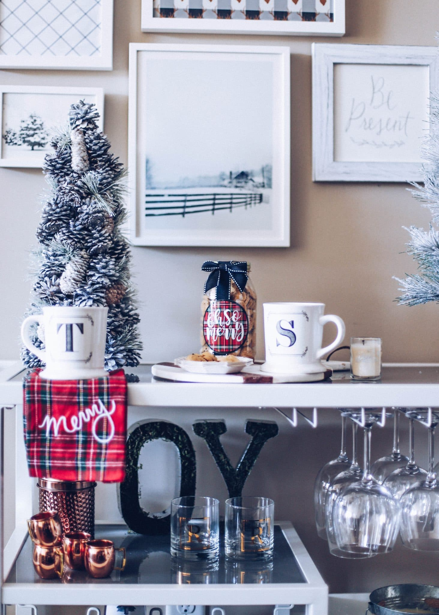 holiday bar cart, winter barcart decorations, how to style a winter christmas bar cart, swoozies holidays, gallery wall festive, pretty in the pines blog, nc lifestyle blog