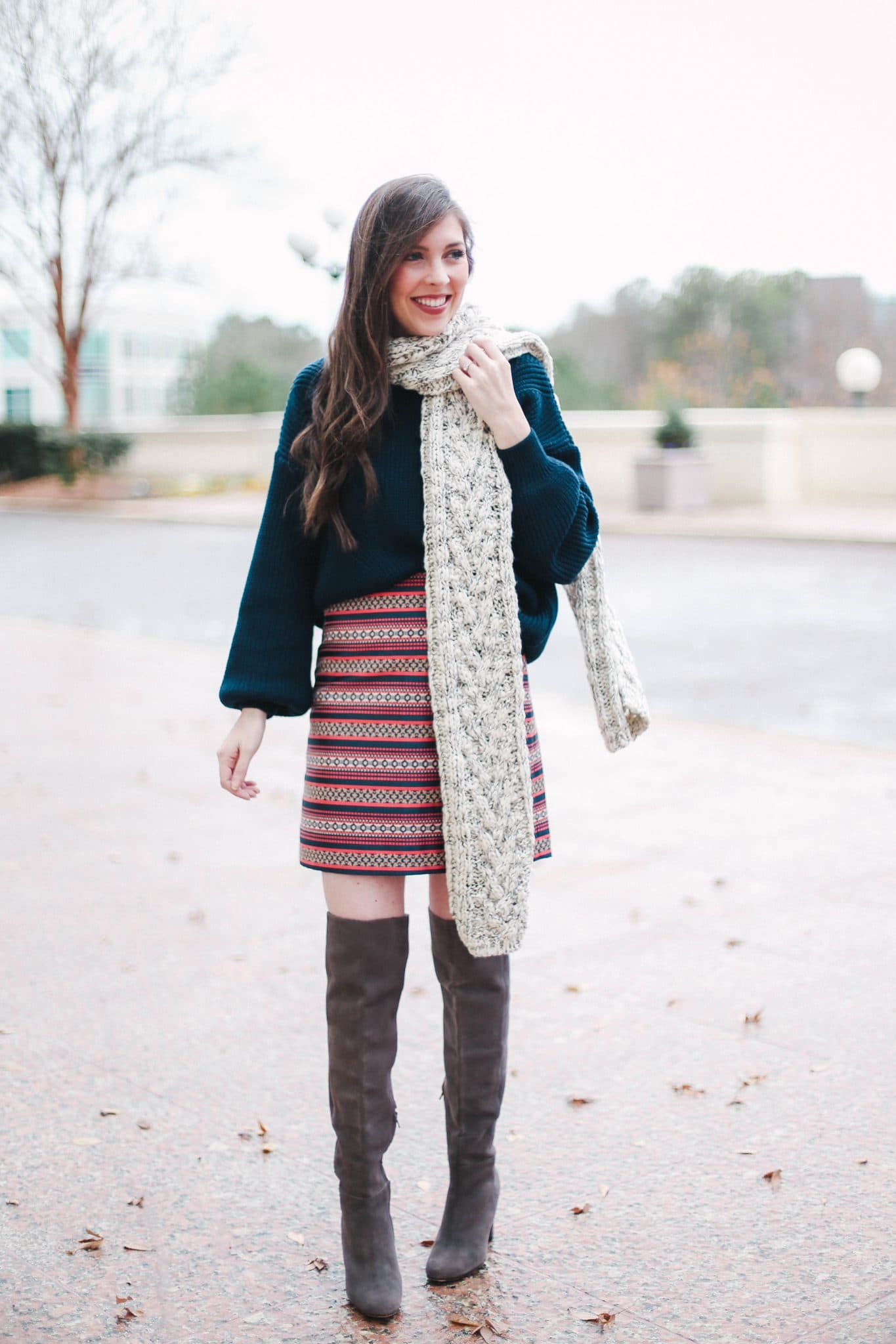 chunky knit scarf, express scarves, loft striped skirt, pretty in the pines blog, north carolina blogger, topshop navy sweater nordstrom, grey suede over the knee boots
