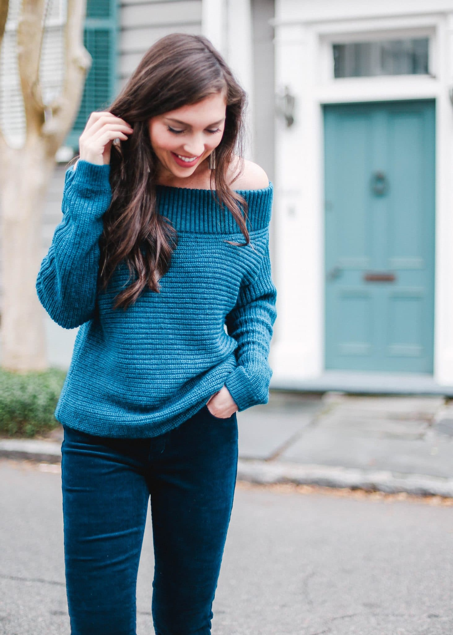 express sweater, navy corduroy skinny pants forever 21, pretty in the pines blog, north carolina blogger
