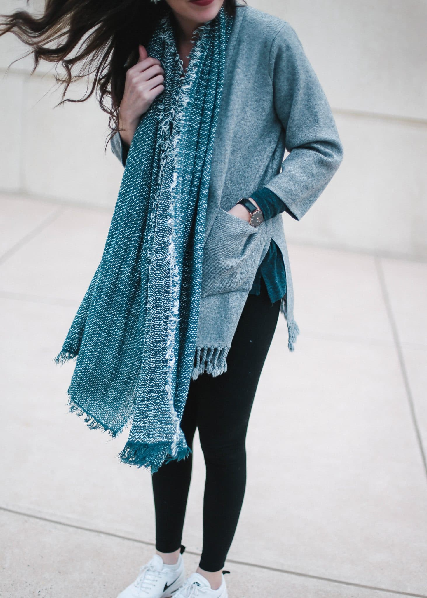michael stars plush wrap, cozy blue scarf, cameron village, nc blogger, north carolina blog, fashion, style, pretty in the pines, leggings, athleisure trend