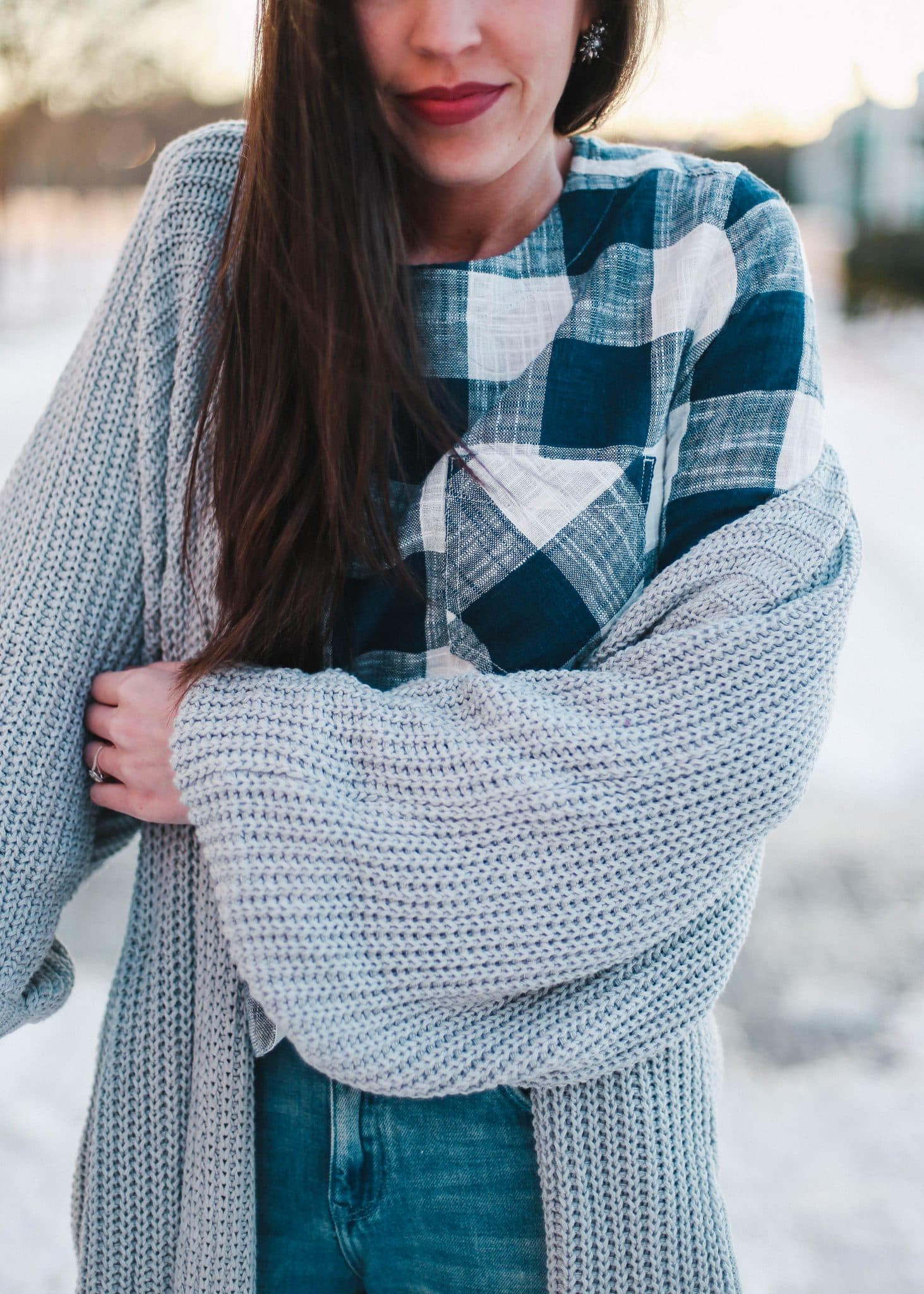 anthropologie gingham top, pretty in the pines blog,lifestyle blog, fashion blog north carolina, grey long cardigan oversized, distressed denim