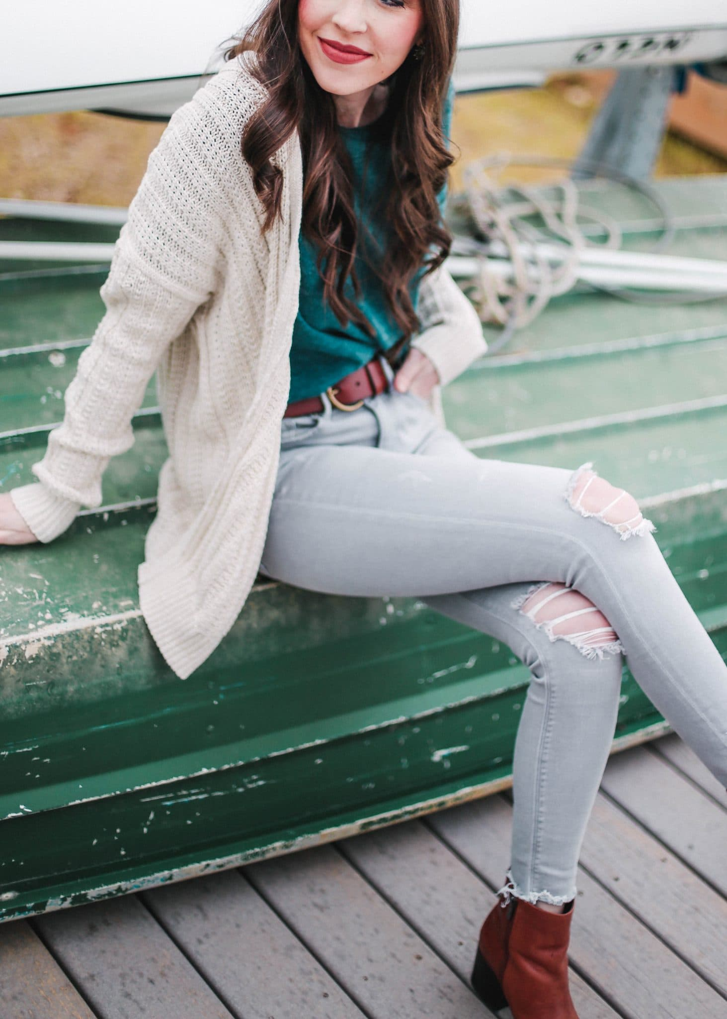 gap cardigan cream sweater, grey distressed skinny jeans, wayf nordstrom ruffle sleeve top, pretty in the pines blog, north carolina blogger, nc blog
