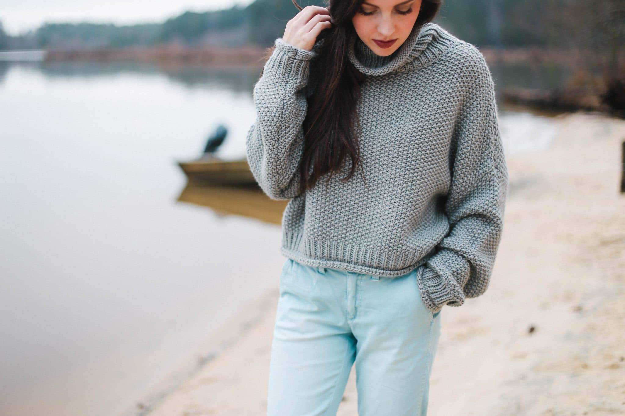 blue chino pants, grey turtleneck chunky knit sweater, anthropologie, nc fashion blogger, style blog north carolina, pretty in the pines, leather brown joey booties sam edelman