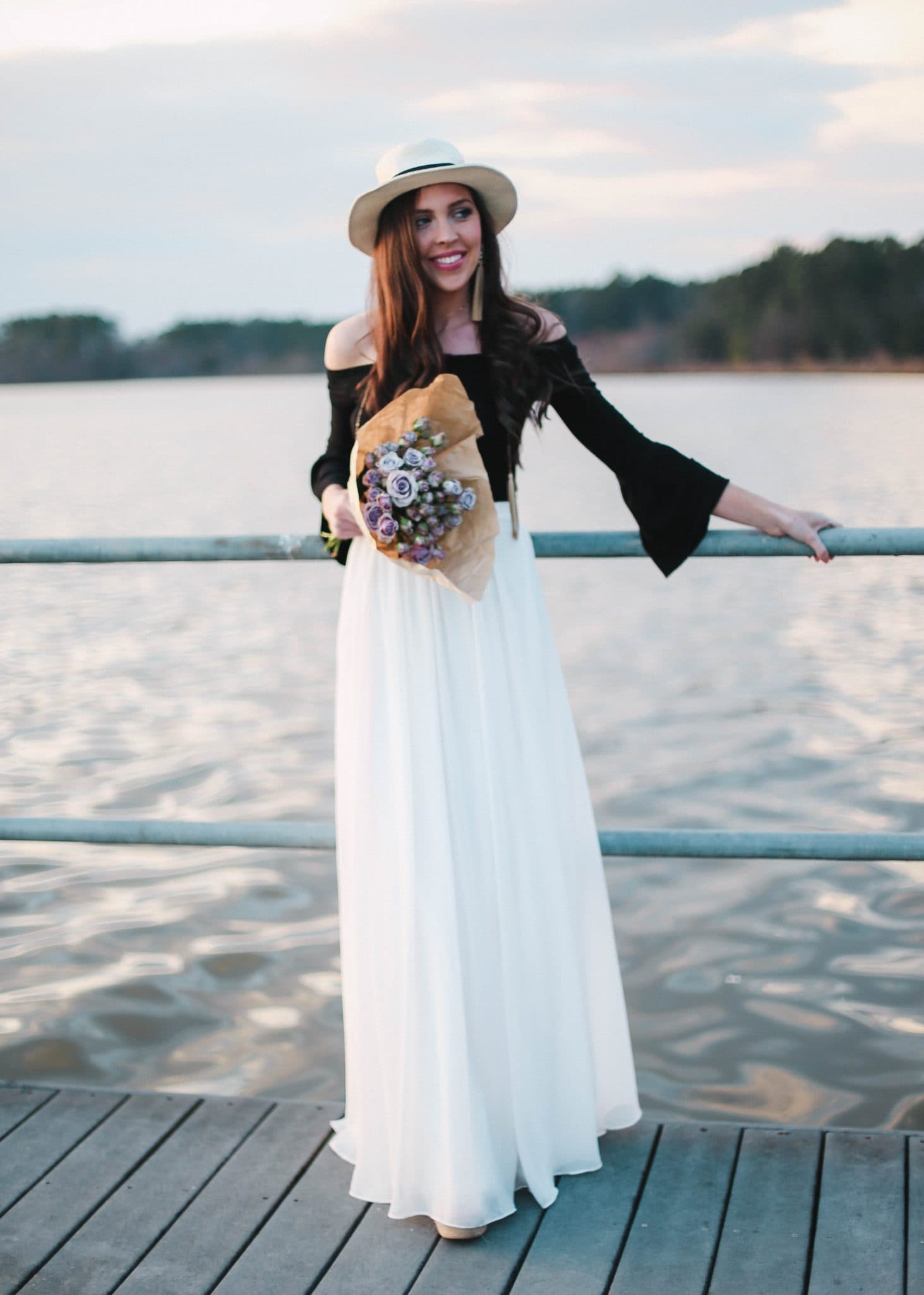 White Maxi Skirt, North Carolina Blogger, Black Crop Top Off Shoulder Bell Sleeve, Cute Spring Outfit, How to Style a Maxi Skirt