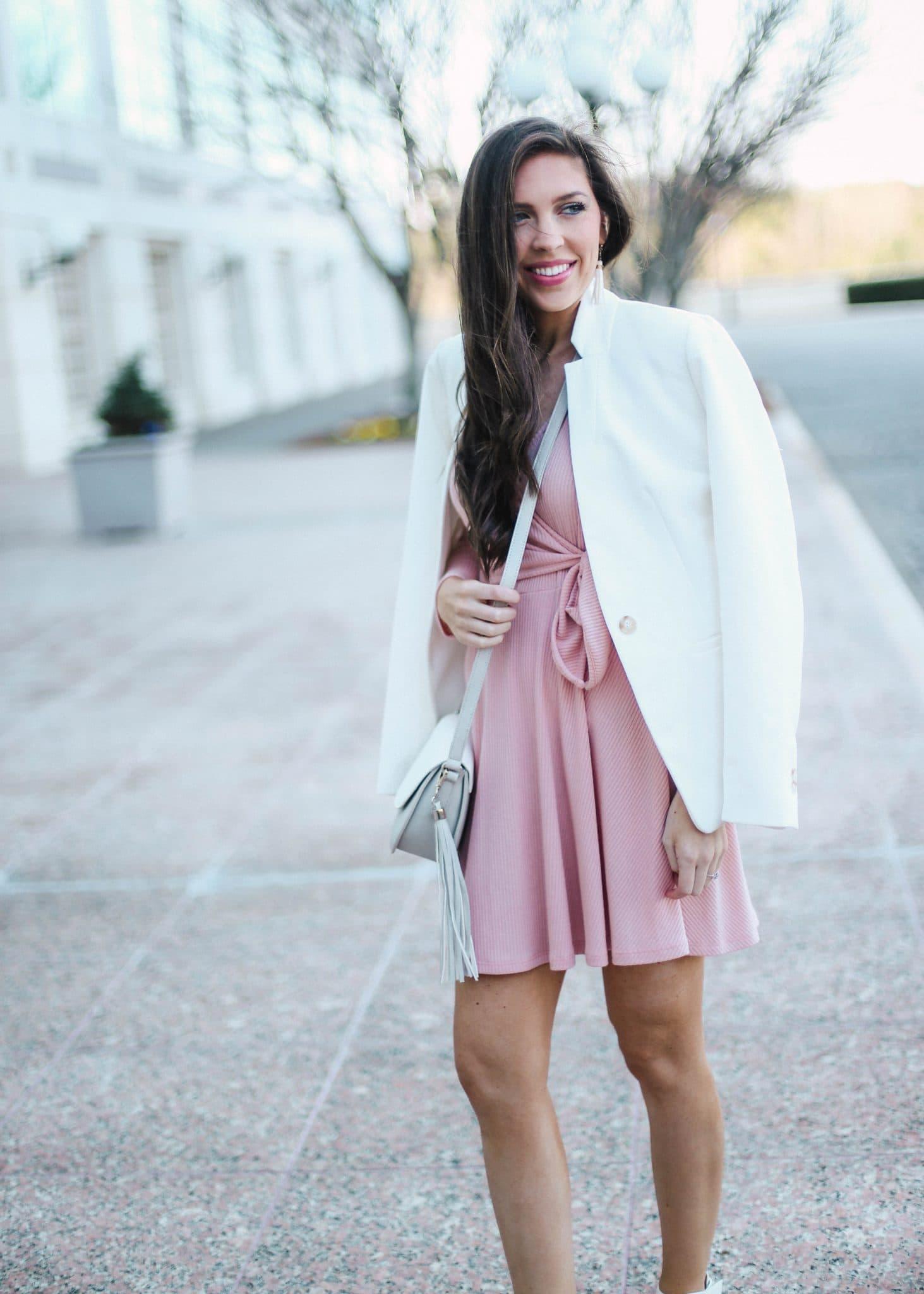 Pink Wrap Dress, Fashion Blogger, North Carolina Blog, Pretty in the Pines, Capri Blue, NYFW, White Blazer Womens, Grey White Crossbody, Raven and Riley