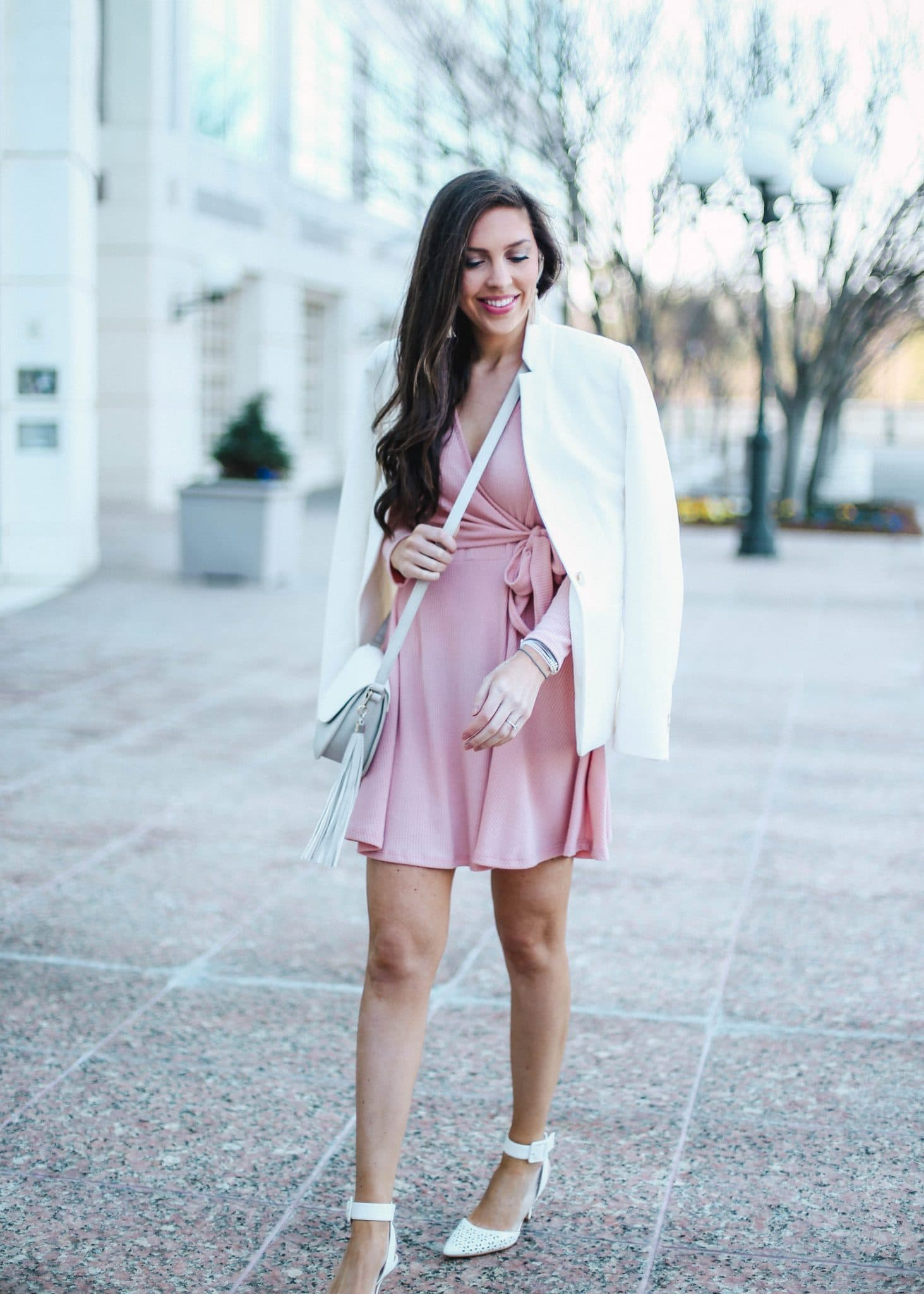 Pink Wrap Dress, Fashion Blogger, North Carolina Blog, Pretty in the Pines, Capri Blue, NYFW, White Blazer Womens, Grey White Crossbody, Raven and Riley