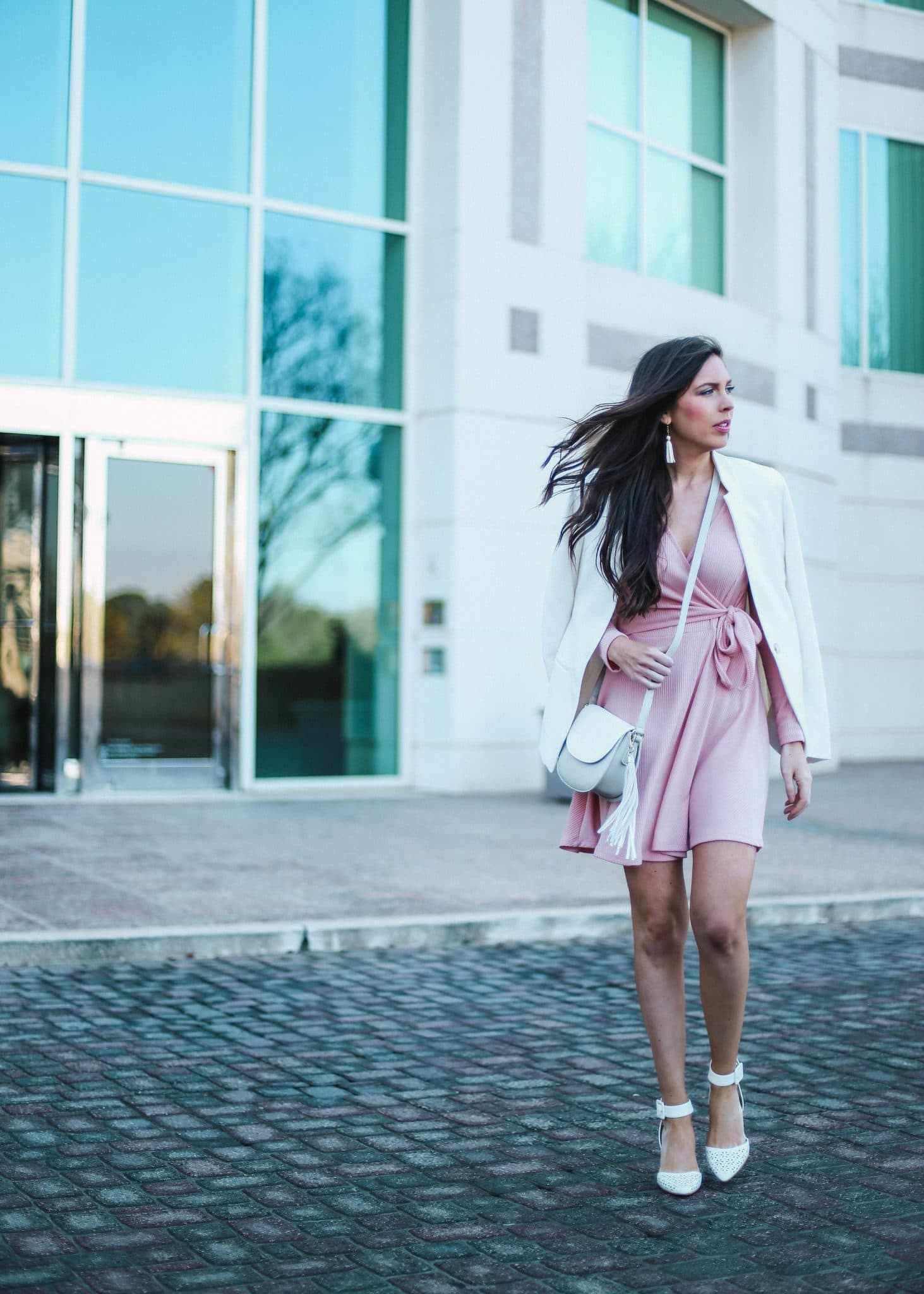 pink wrap dress, white womens blazer, grey white crossbody, capri blue candles, volcano candle, pretty in the pines, fashion blogger, north carolina blog, nc blogger, spring outfit idea