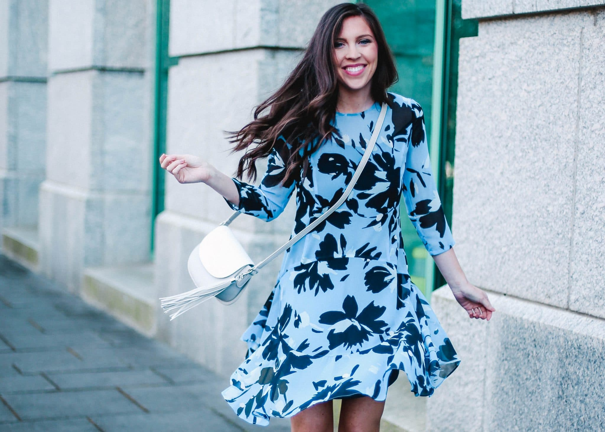 donna morgan blue floral dress spring, pretty in the pines fashion blog