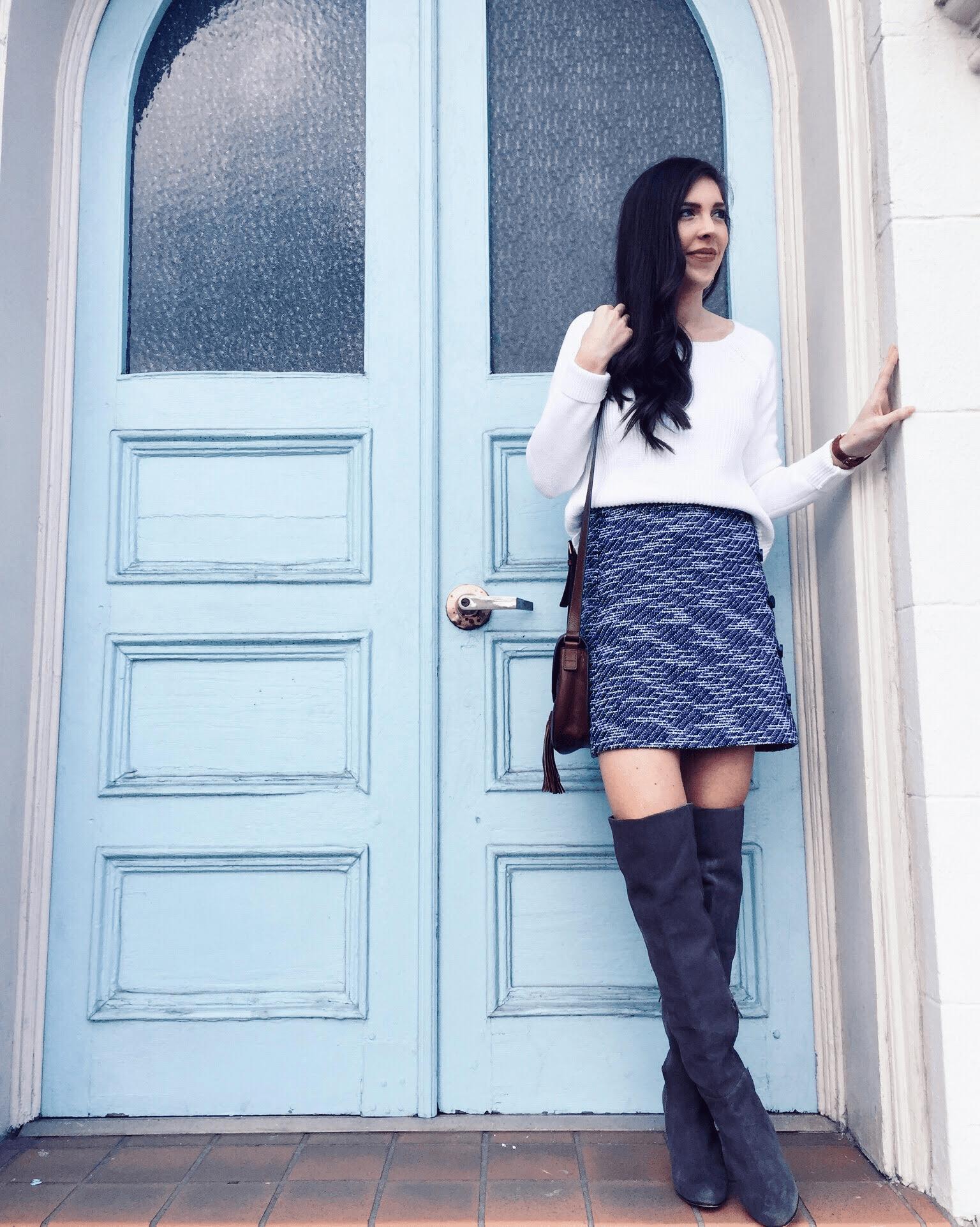 Loft blue tweed mini skirt, pretty in the pines
