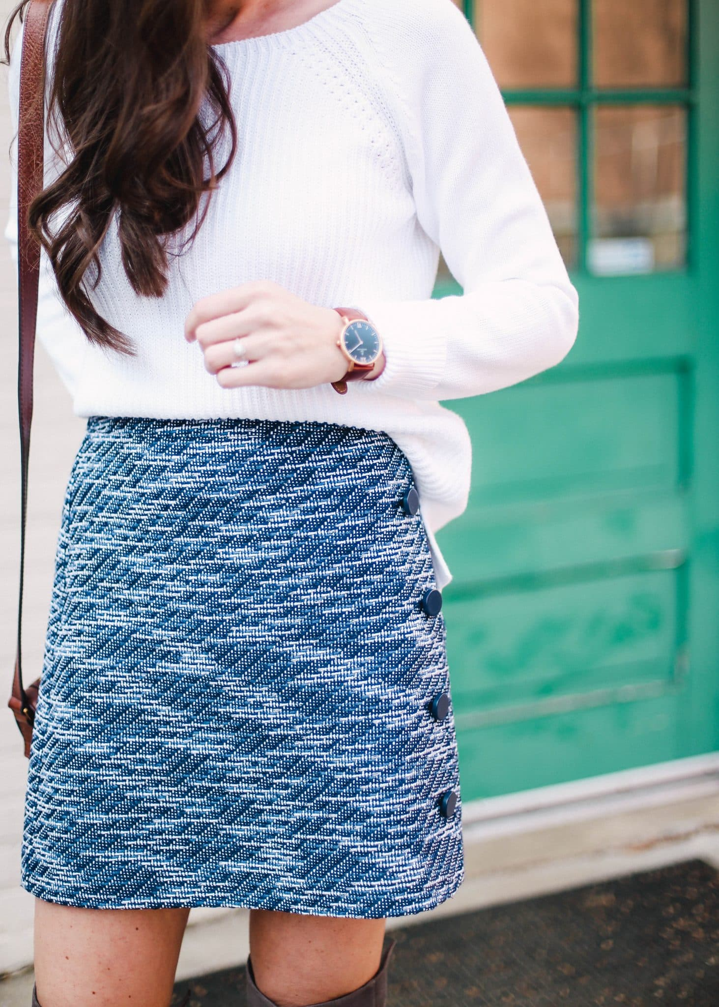 LOFT tweed blue skirt, pretty in the pines fashion blog north carolina