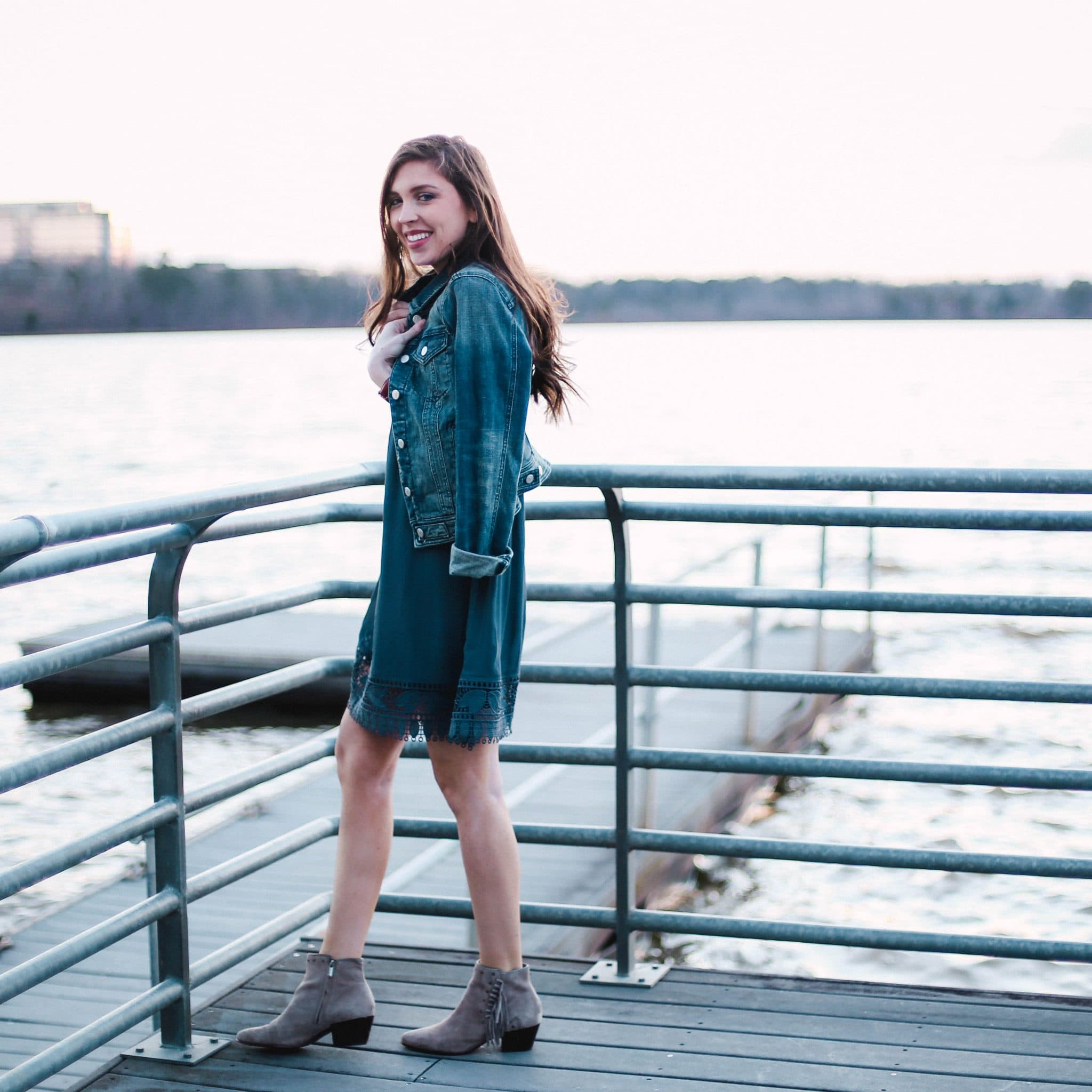 anthropologie denim jacket, pretty in the pines