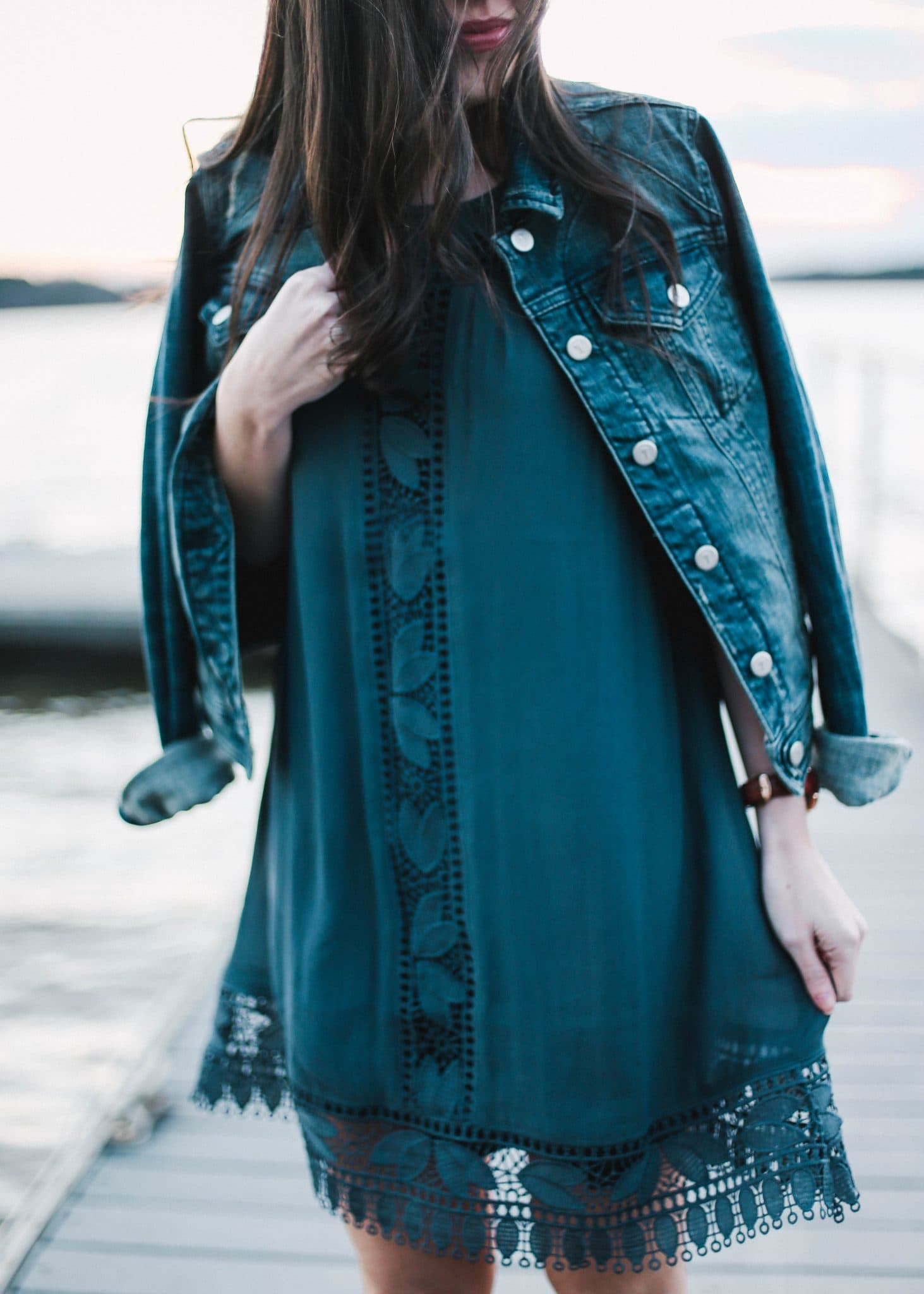 denim jacket pilcro anthropologie, LOFT lace dress