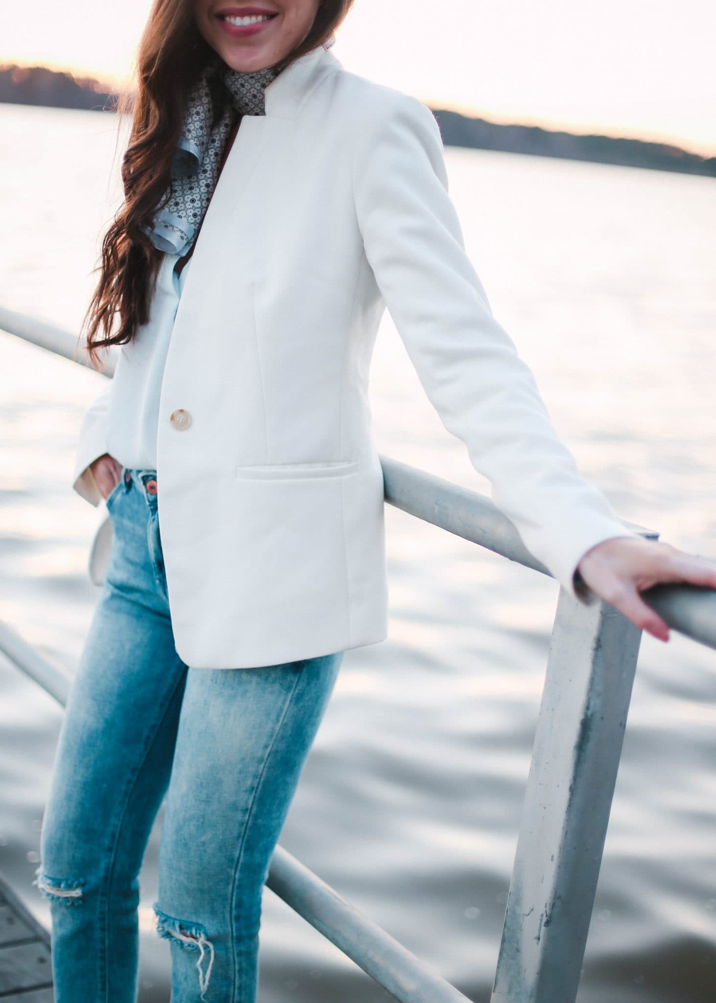 white blazer, LOFT blazer, distressed jeans, pretty in the pines fashion blog north carolina