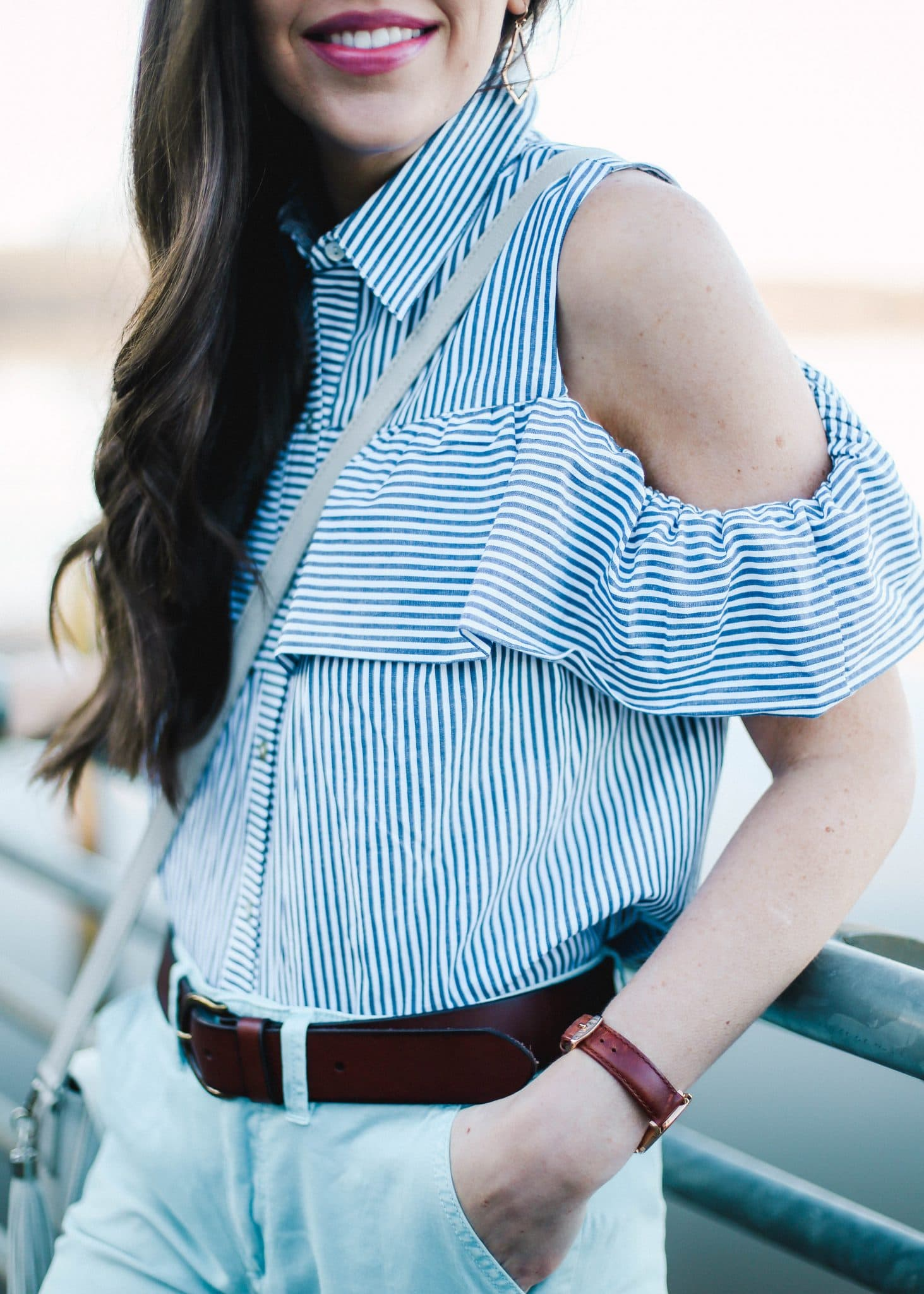 cold shoulder ruffle blue white striped top, blue chinos anthropologie, pretty in the pines style blog