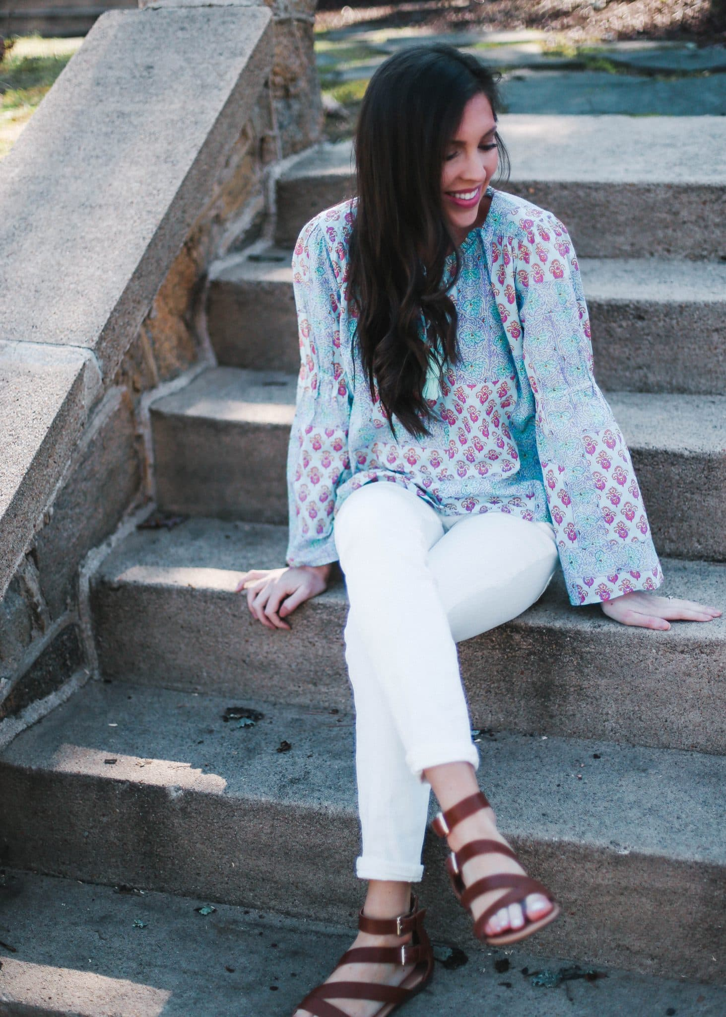 anthropologie lilka lounge top, spring outfit idea, pretty in the pines blog, fashion blogger north carolina