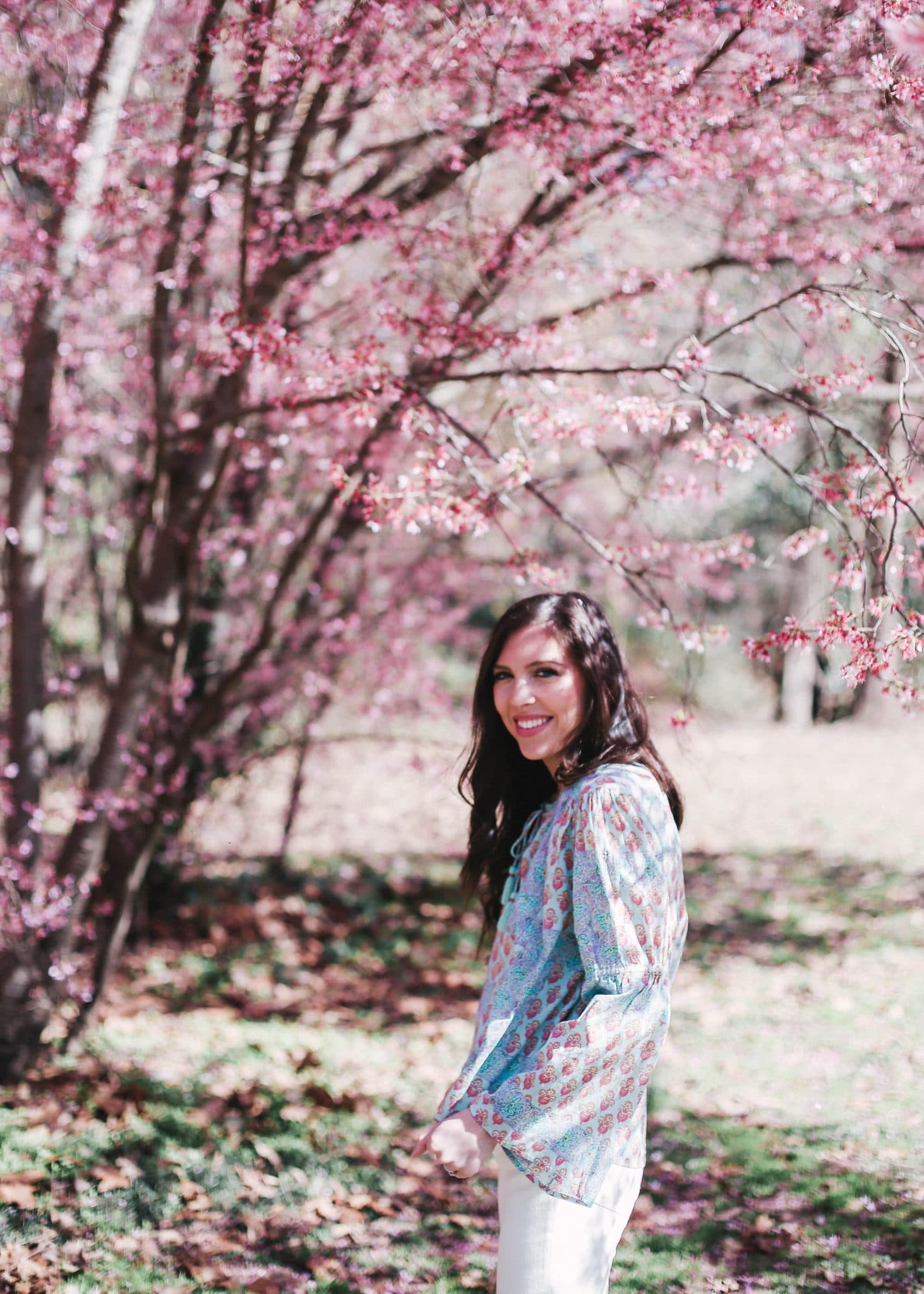 anthropologie lilka top, spring outfit idea, pretty in the pines blogger north carolina