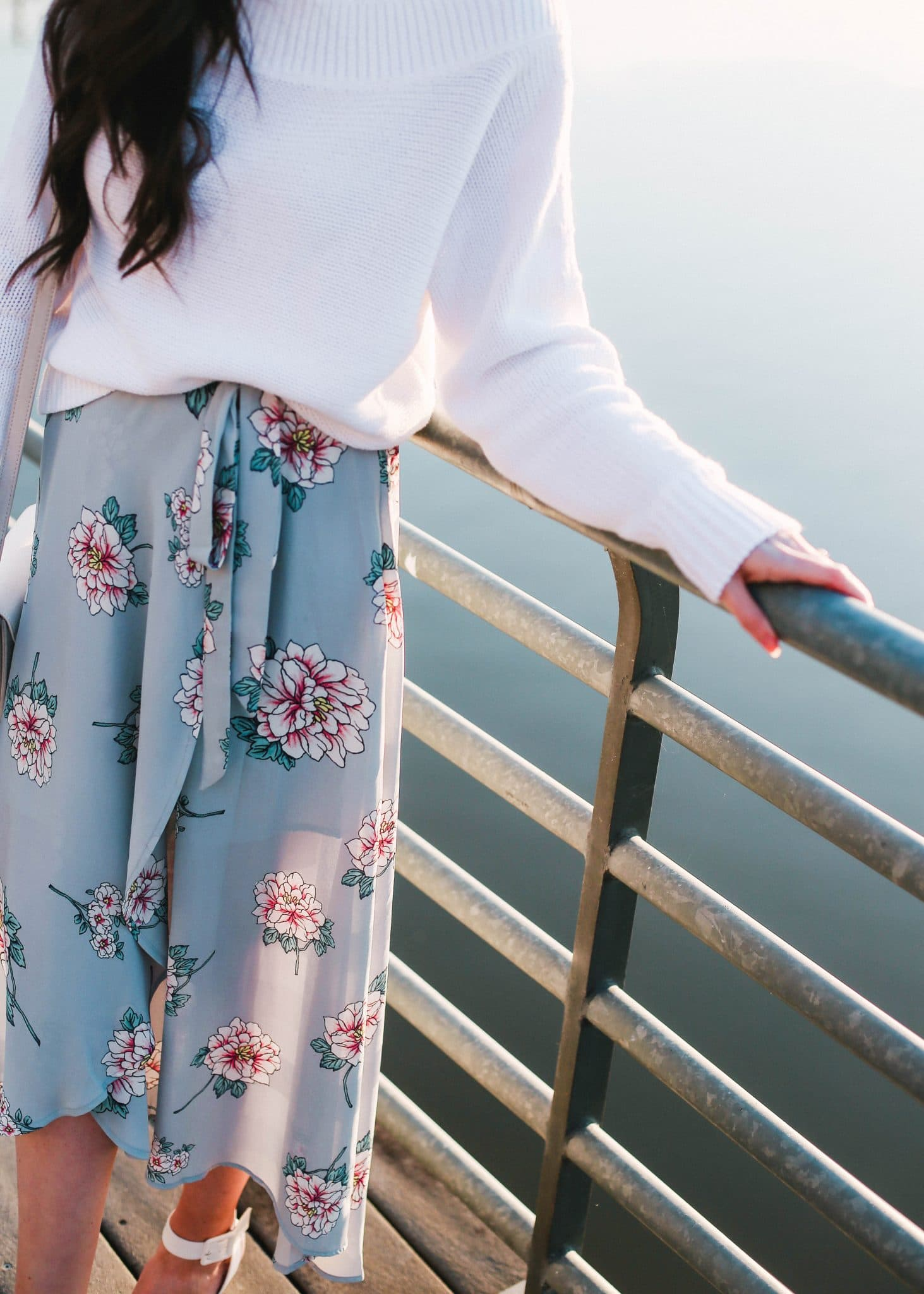 Nordstrom Floral Wrap Skirt, Sam Edelman Odynna White Pointy Toe Pumps Ankle Strap Shoes, White Sweater GAP, Pretty in the Pines North Carolina Style Blogger, Spring Outfit Idea
