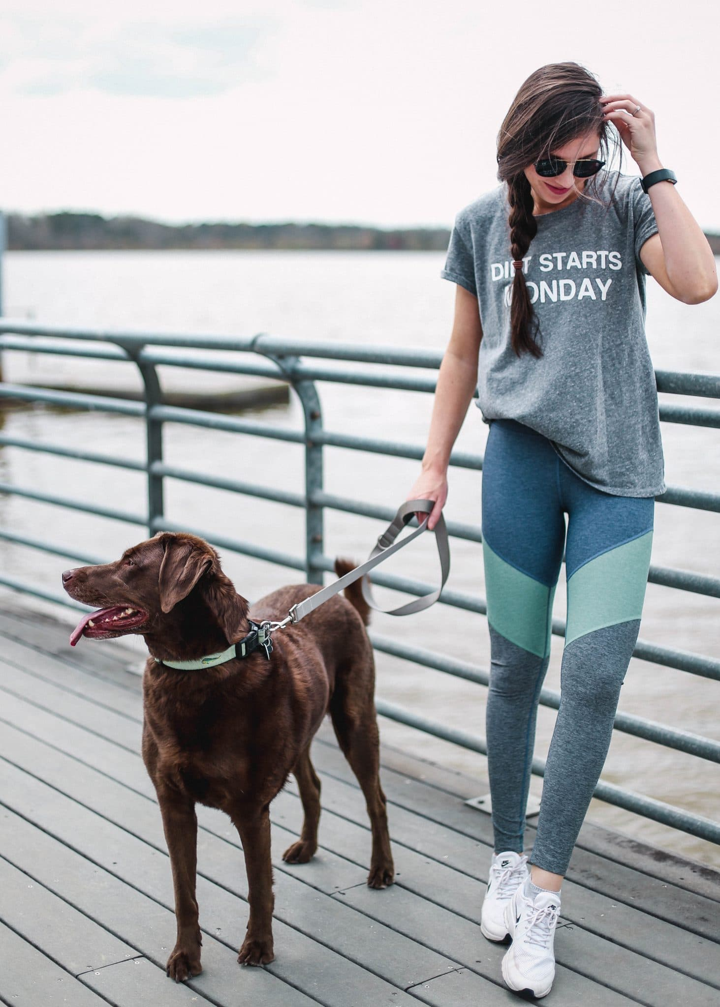 Outdoor Voices leggings, diet starts monday tee, cute workout outfit ideas, spring activewear, onzie mesh leggings and crop top, pretty in the pines blog