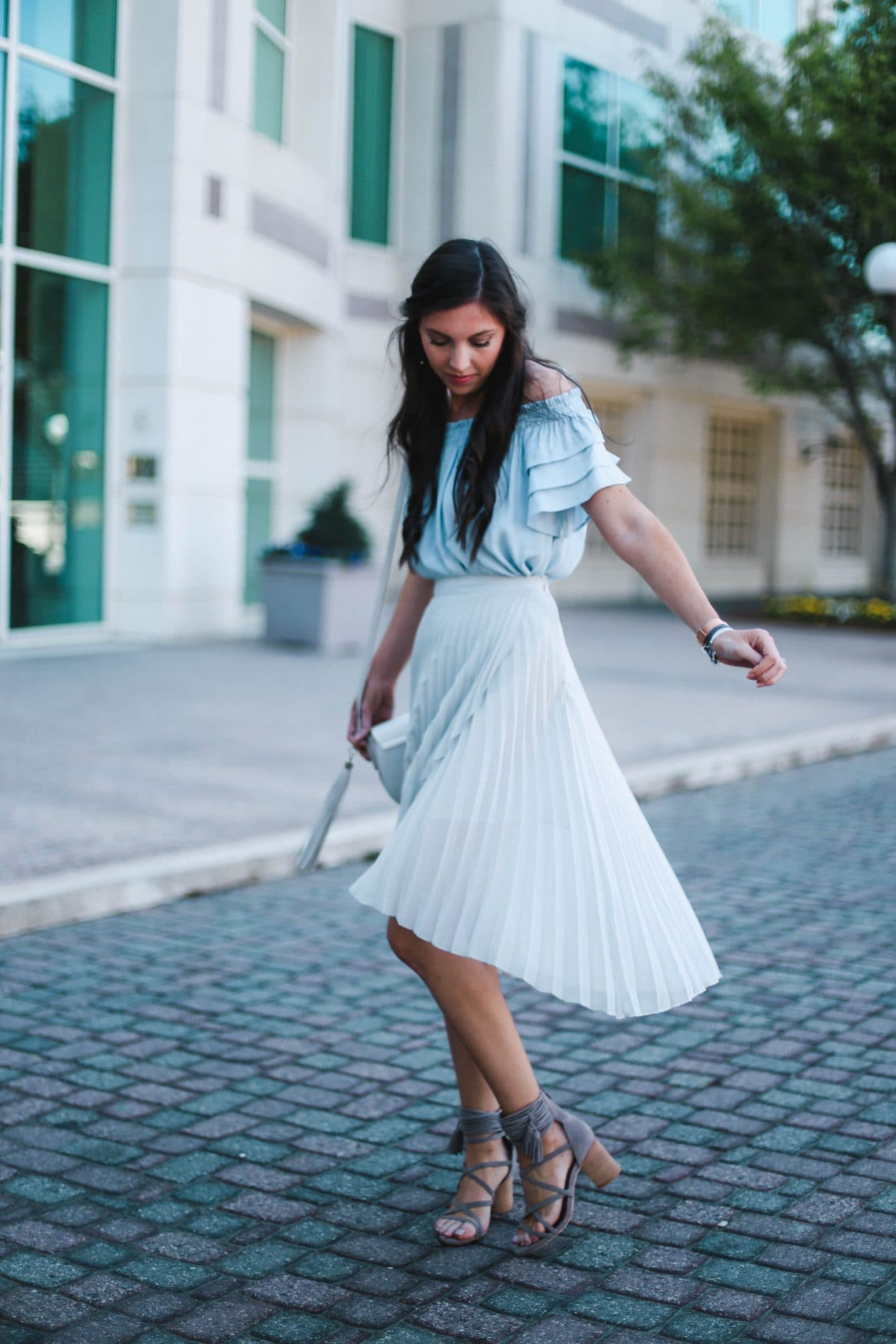 pleated leith skirt midi, pretty in the pines, ruffle off shoulder top