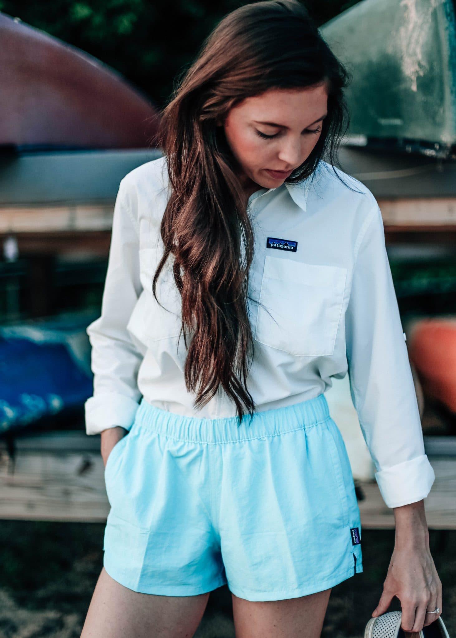 Patagonia Women's Barely Baggies Shorts, Anchor Bay Shirt, Lake Crabtree Raleigh