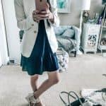 White Blazer and Navy Dress LOFT