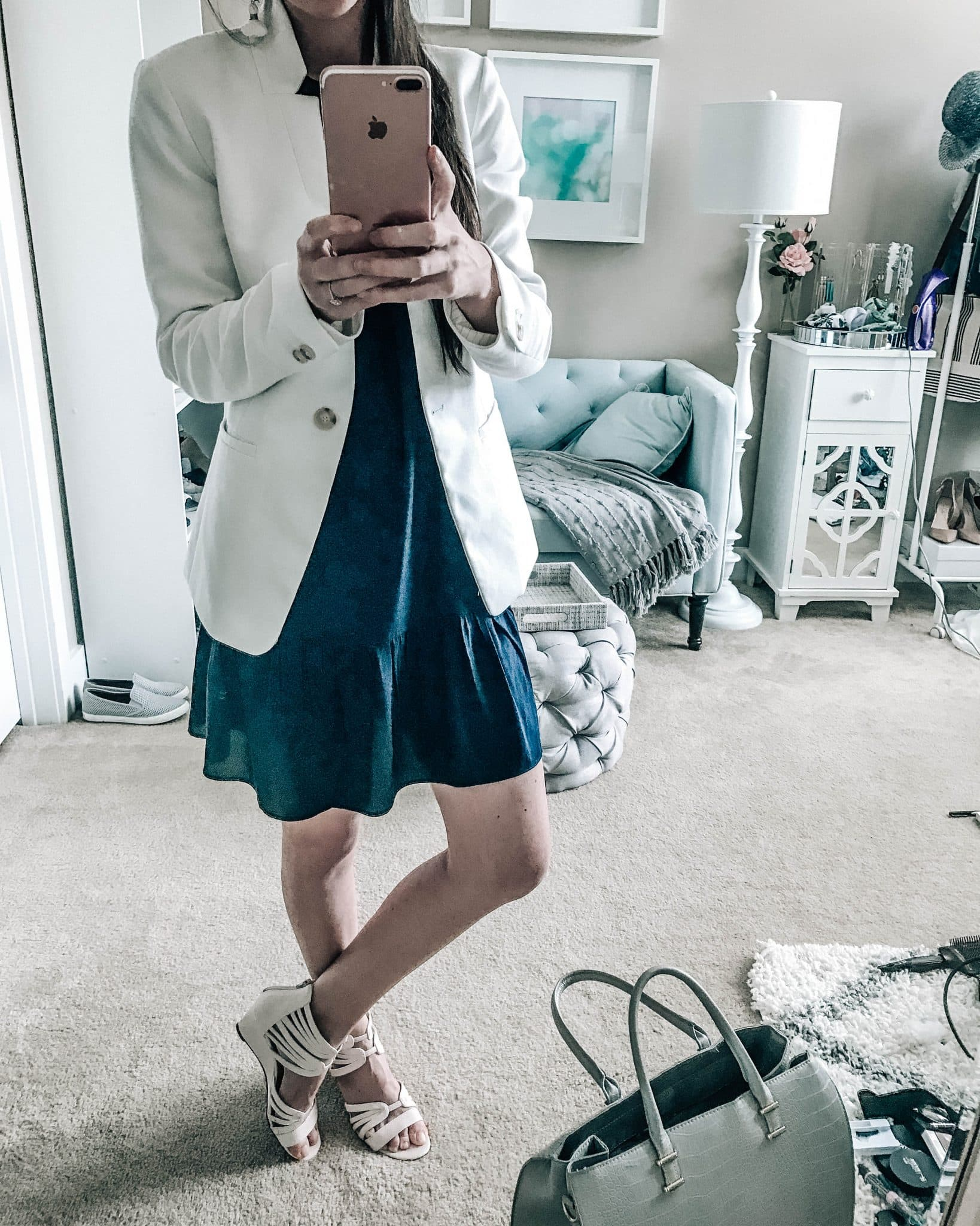white blazer womens navy blue ruffle dress