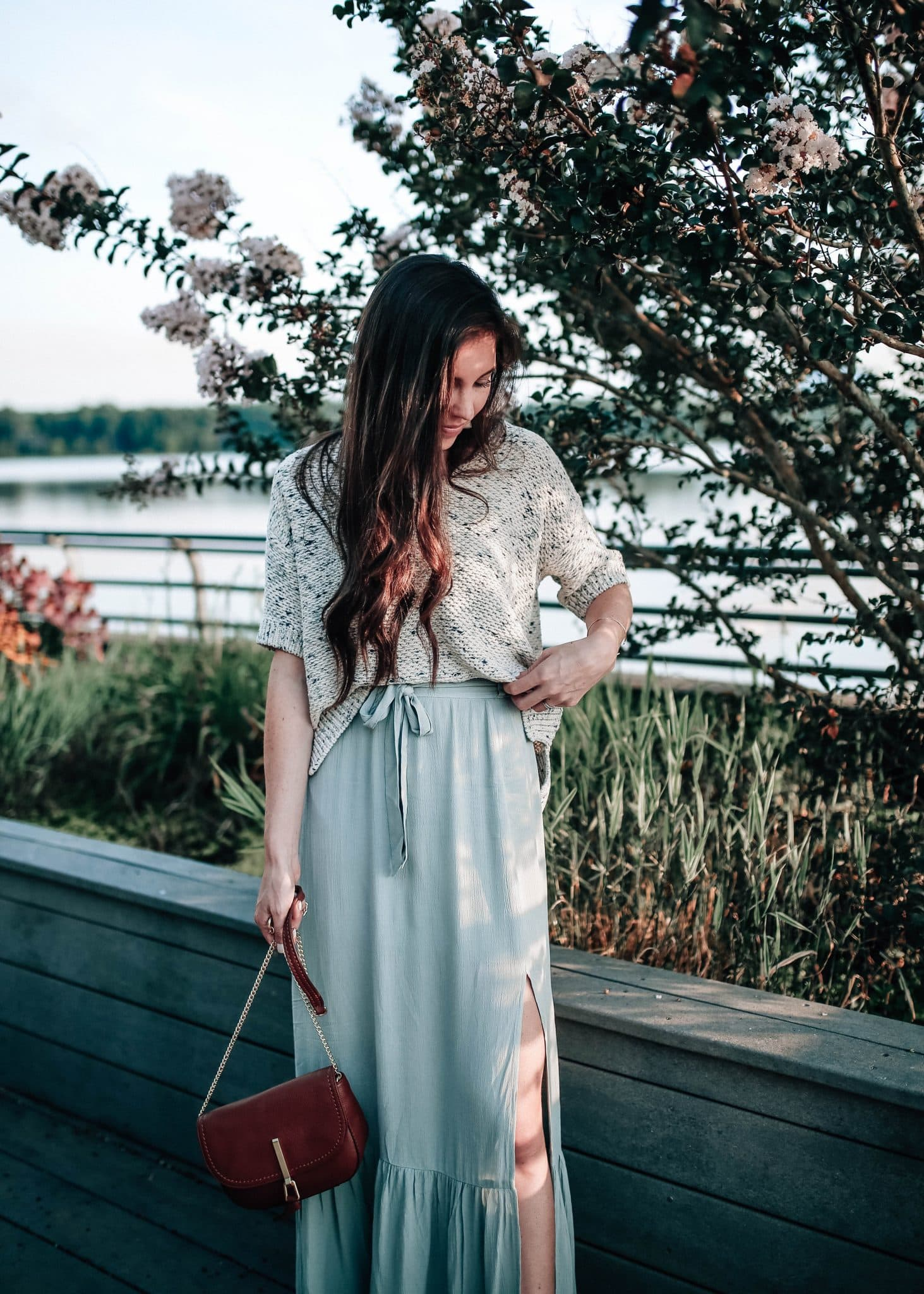 8d461d086a3b0 Sun & Shadow Ruffle Hem Maxi Skirt Summer Outfit Idea with Pretty in ...