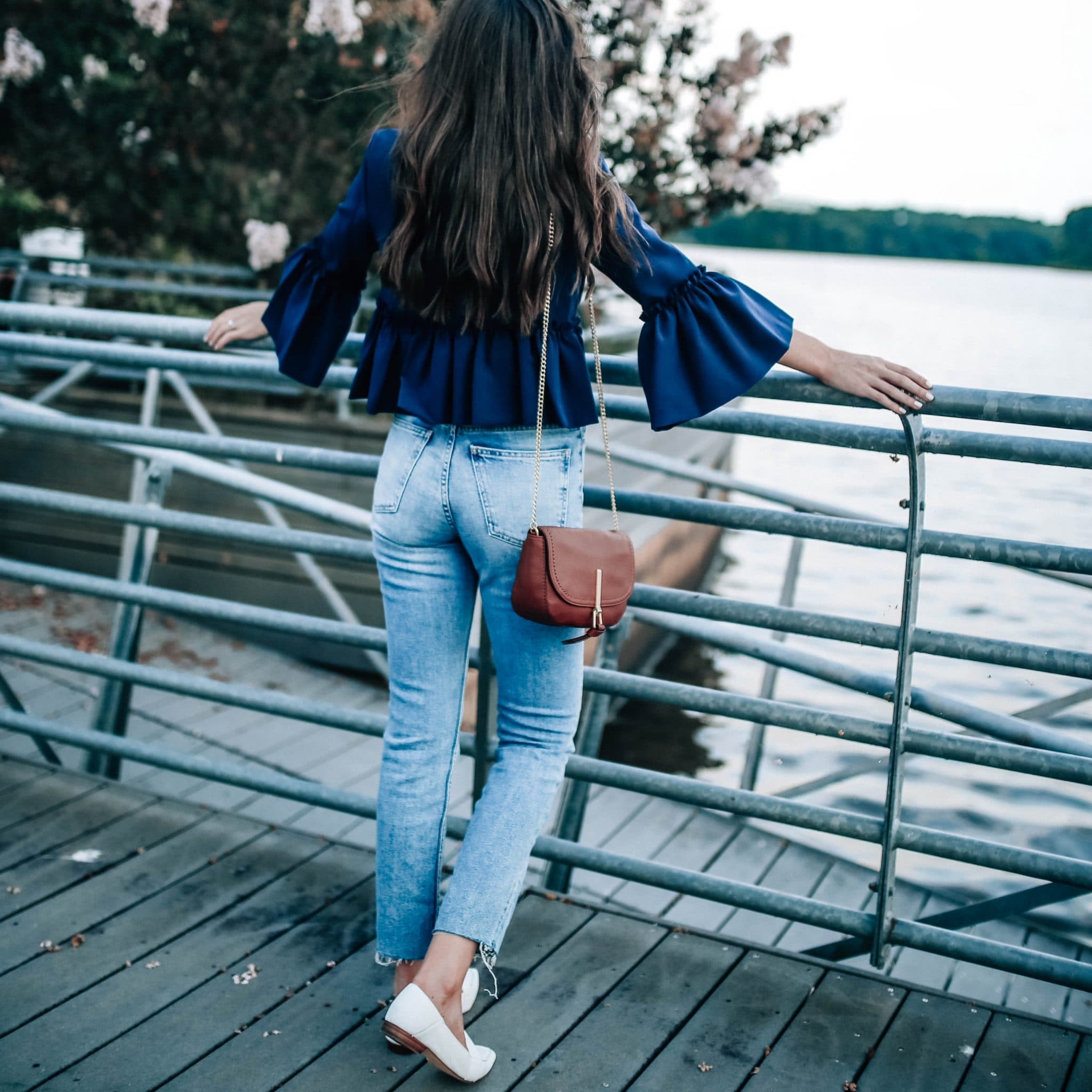 ruffle crop topshop blazer jacket, high waist raw hem denim
