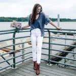Free People Cut Out Tee, White J Crew Denim, Pretty in the Pines Fashion Blog North Carolina