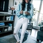 light blue sweater BP Nordstrom Pretty in the Pines White Distressed Denim